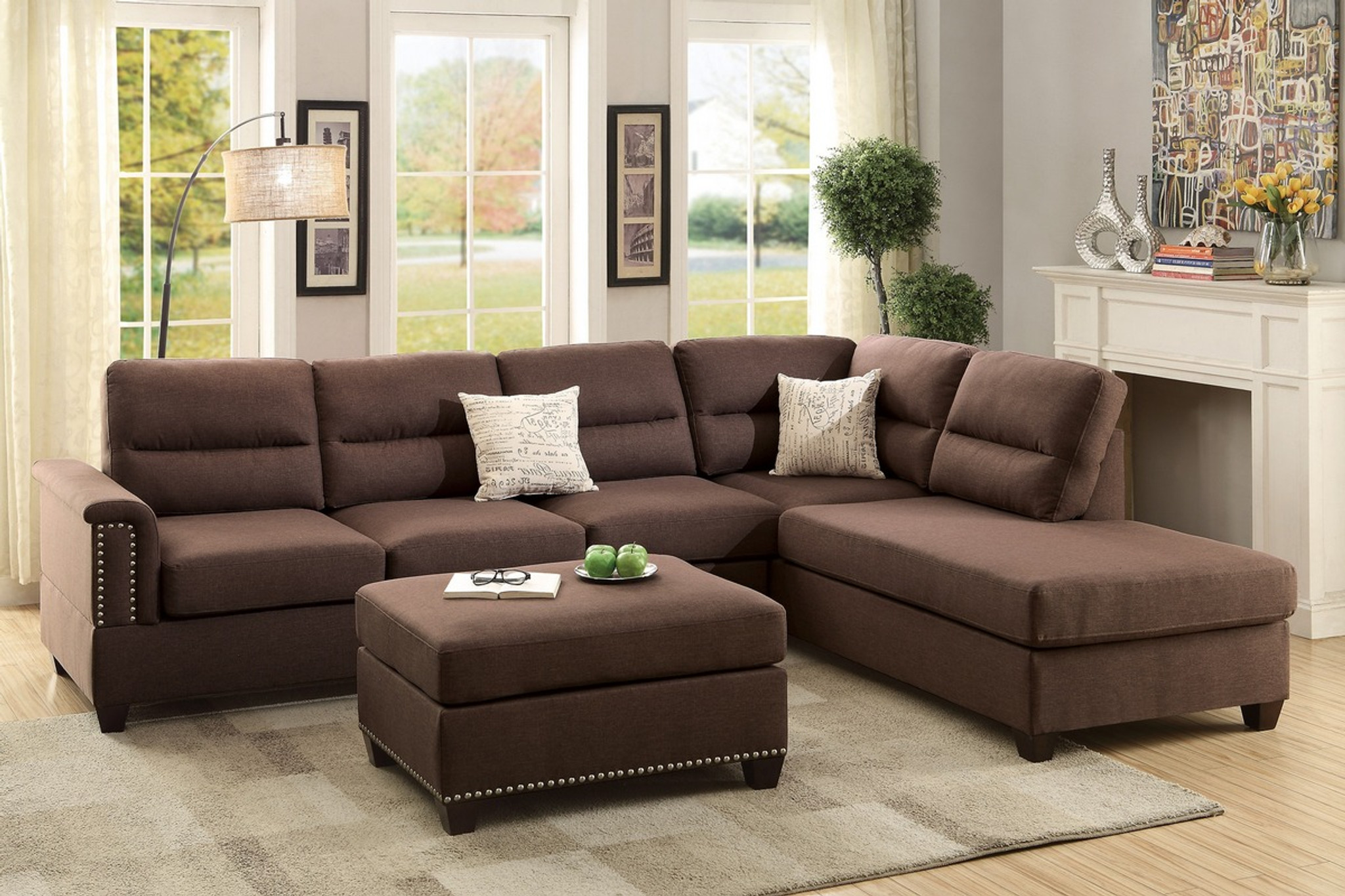 F7613-3PCS CHOCOLATE SECTIONAL SOFA SET WITH OTTOMAN By Poundex
