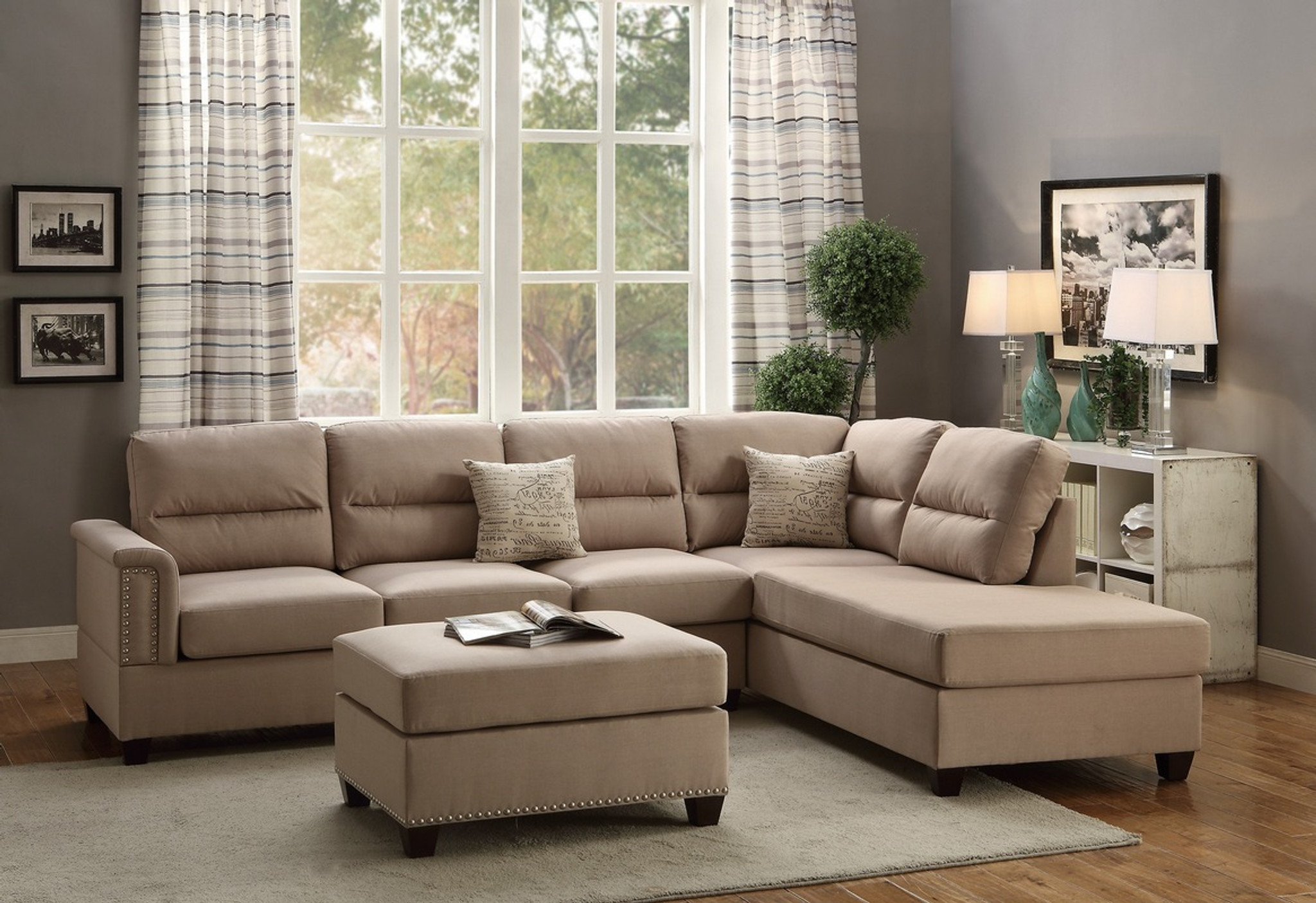 F7614 3pcs Sand Sectional Sofa Set With Ottoman By Poundex