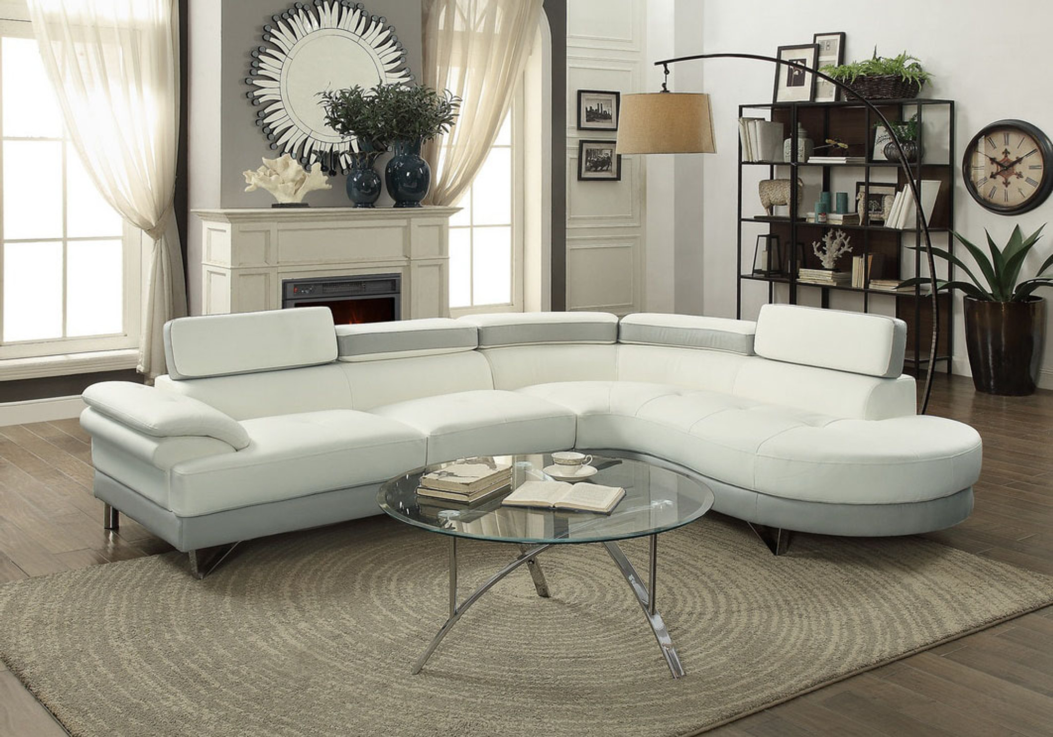 2PC SECTIONAL WITH FLIP UP HEADREST IN WHITE/LIGHT GRAY