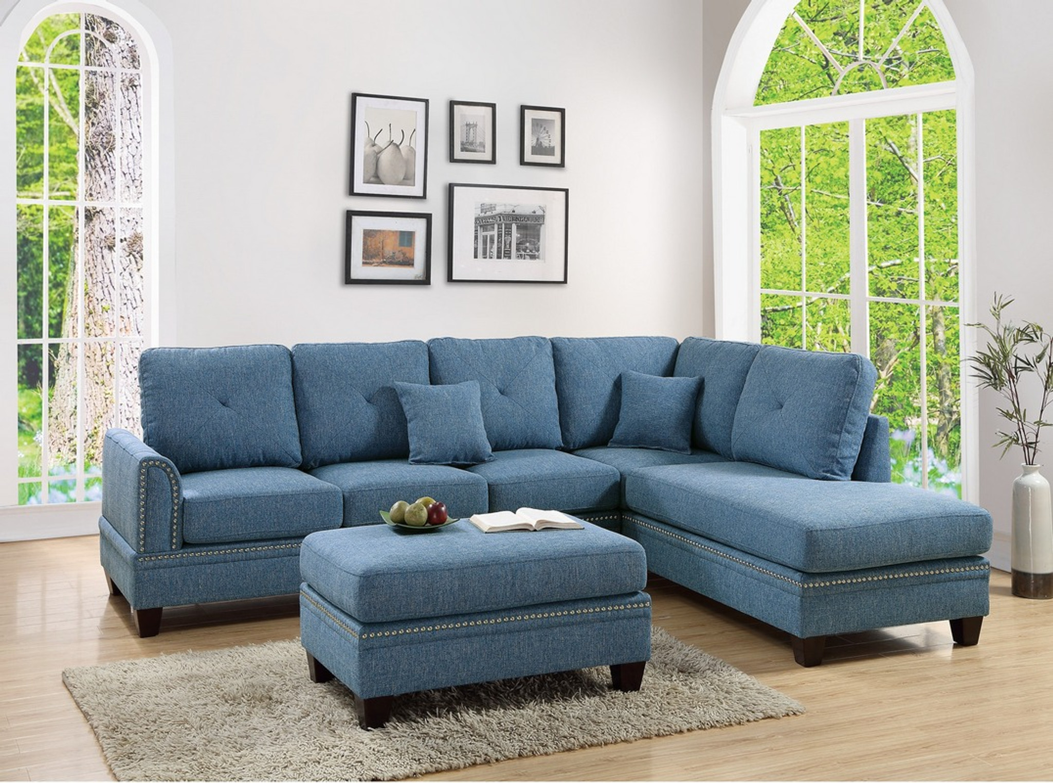 F6512-2PCS BLUE SECTIONAL SOFA By Poundex