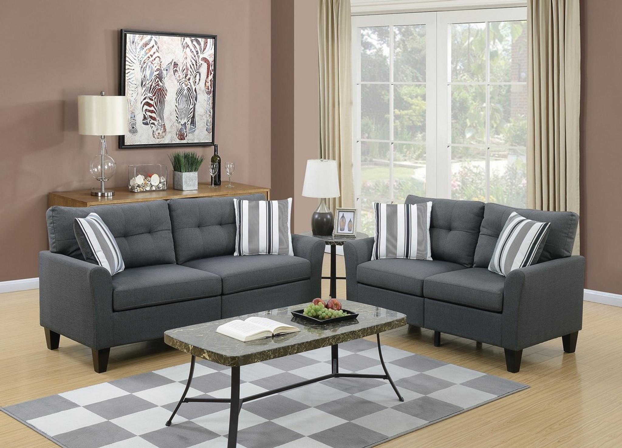 Outstanding 2Pcs Charcoal Color Sofa Set Creativecarmelina Interior Chair Design Creativecarmelinacom
