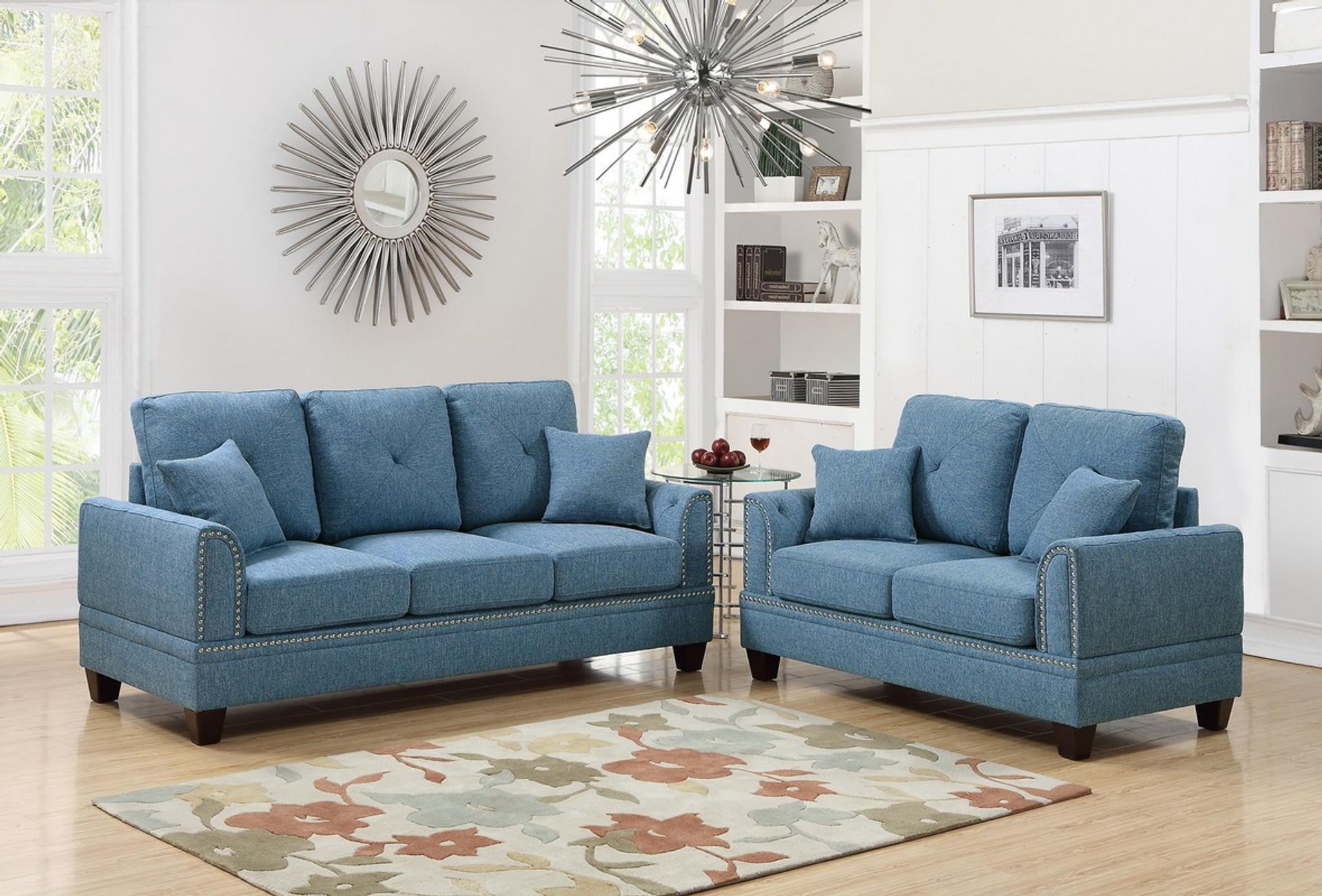 Sensational 2Pcs Blue Color Sofa Set Creativecarmelina Interior Chair Design Creativecarmelinacom