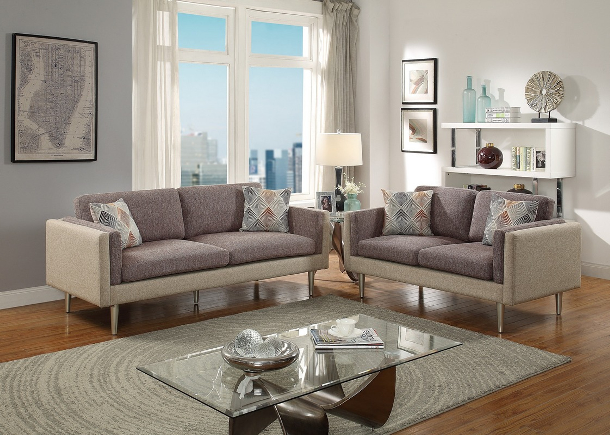 Superb 2Pcs Coffee Platinum Color Sofa Set Squirreltailoven Fun Painted Chair Ideas Images Squirreltailovenorg
