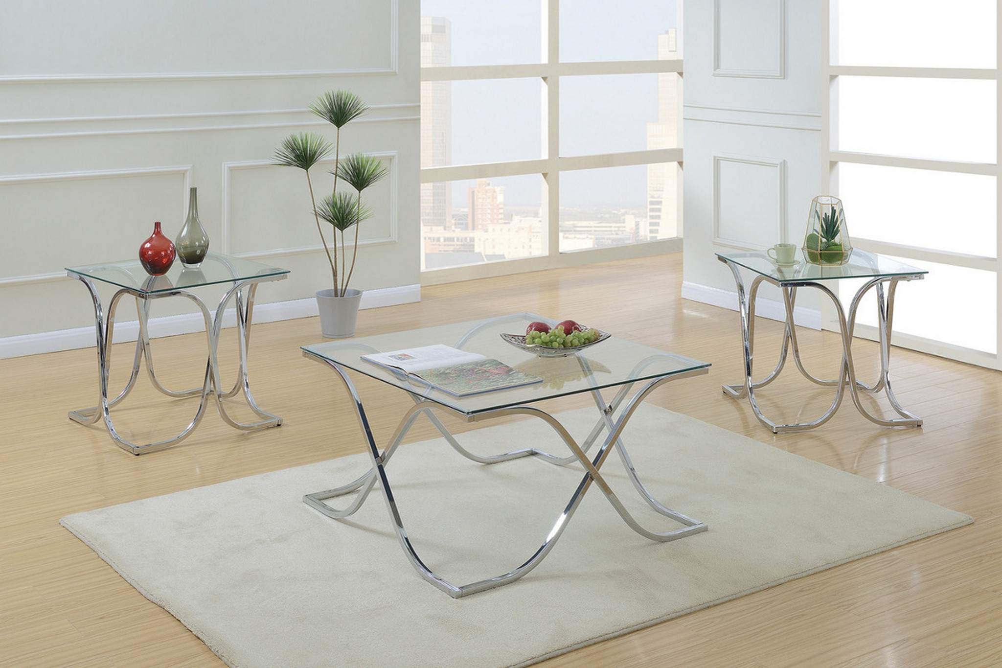 Poundex Coffee Table.3pcs Square Coffee Table Set
