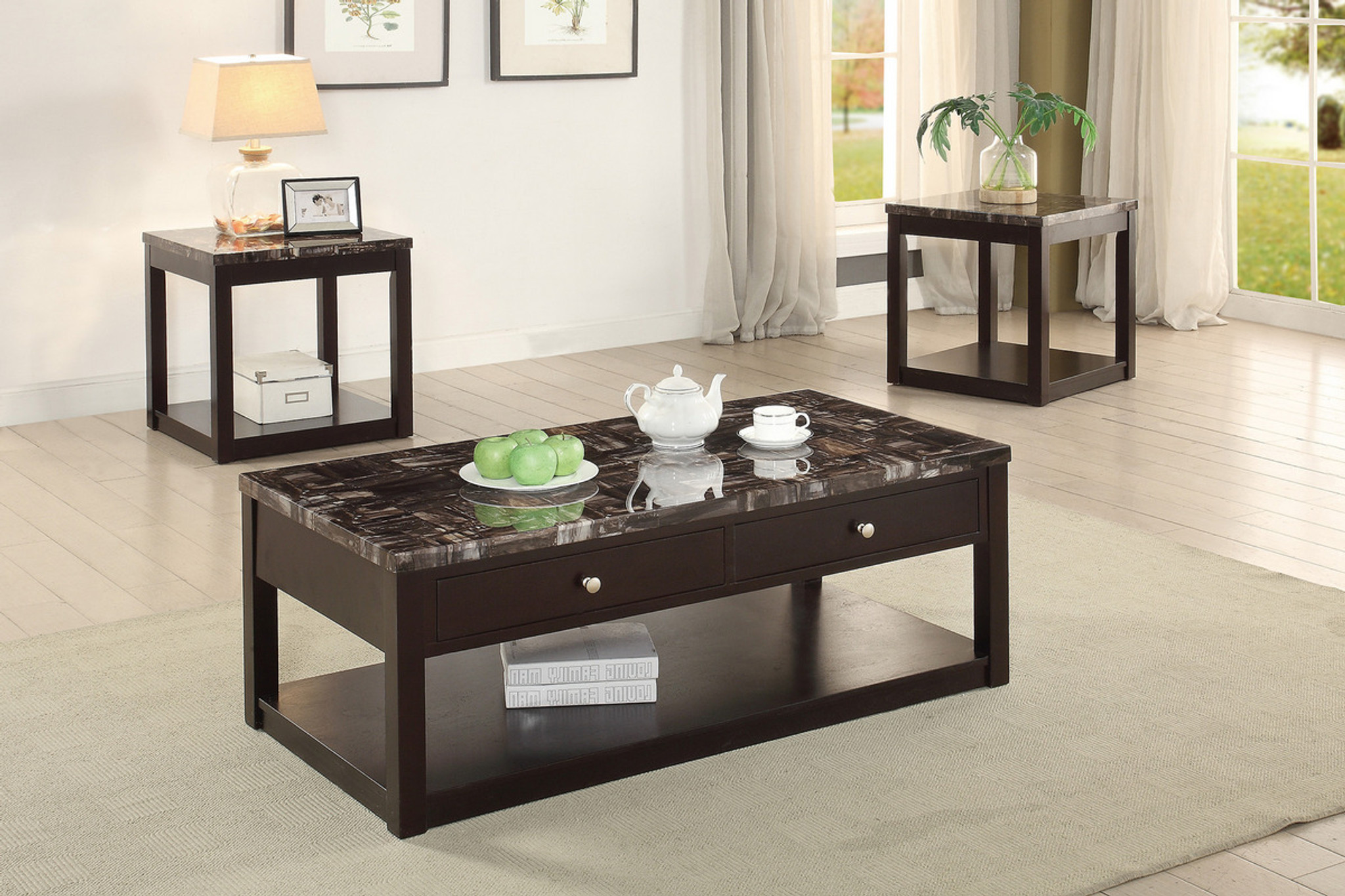 Poundex Coffee Table.3pcs Marble Finish Coffee Table Set