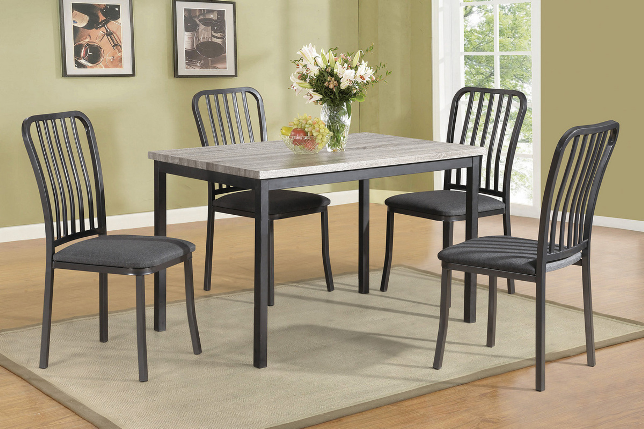 5PCS DINING TABLE SET GREY