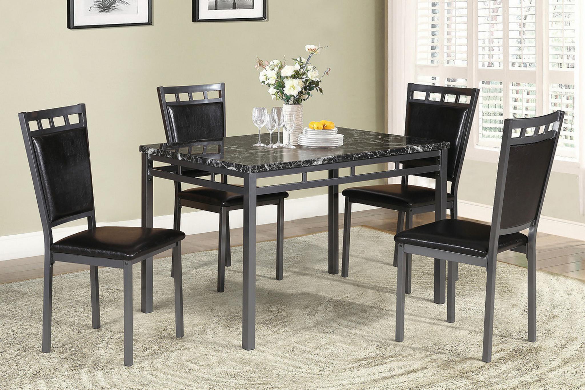 5PCS DINING TABLE SET ESPRESSO-F2389 & F2389-5PCS DINING TABLE SET ESPRESSO By Poundex