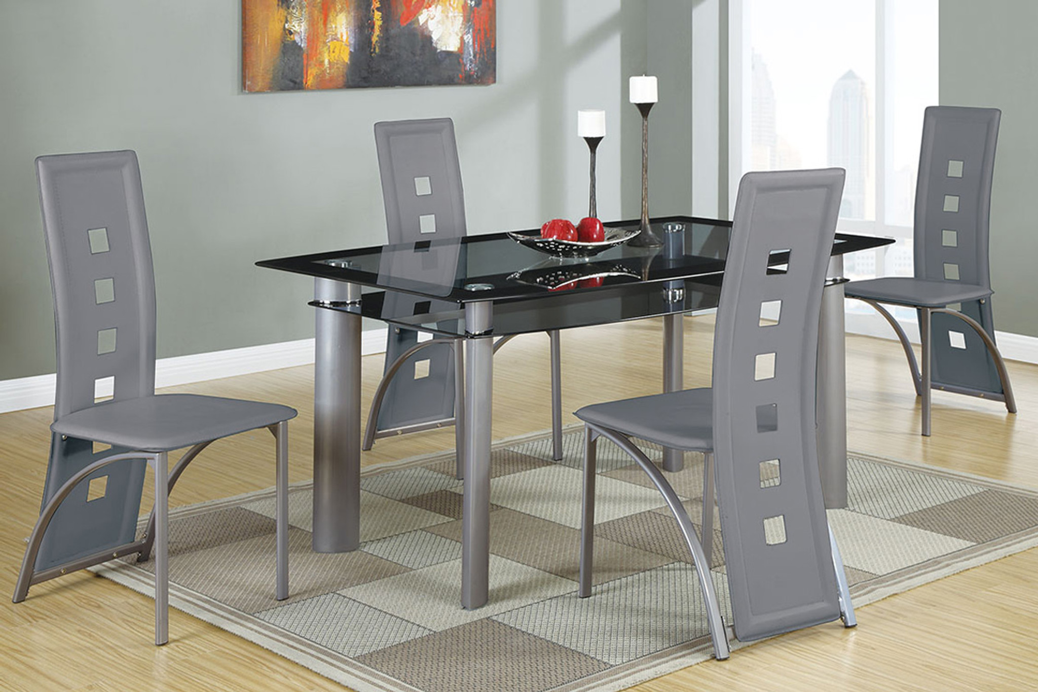 Black And Silver Dining Room Table