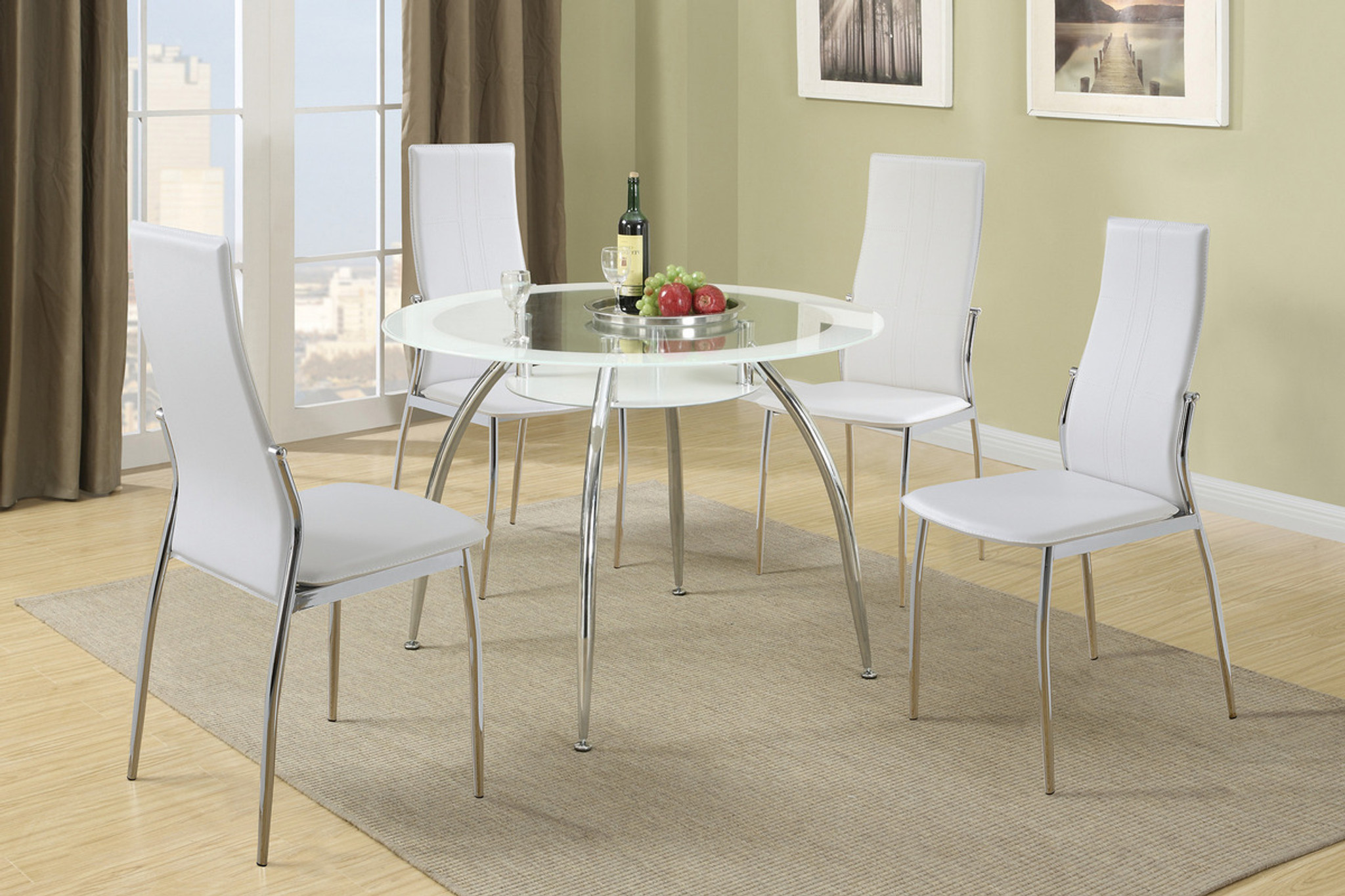 new style 71566 363a1 5PCS WHITE ROUND TABLE DINING SET