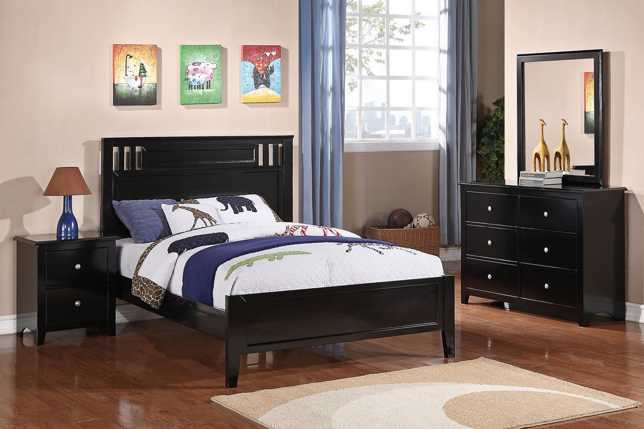 F9046 Black Twin Full Bed Frame By Poundex