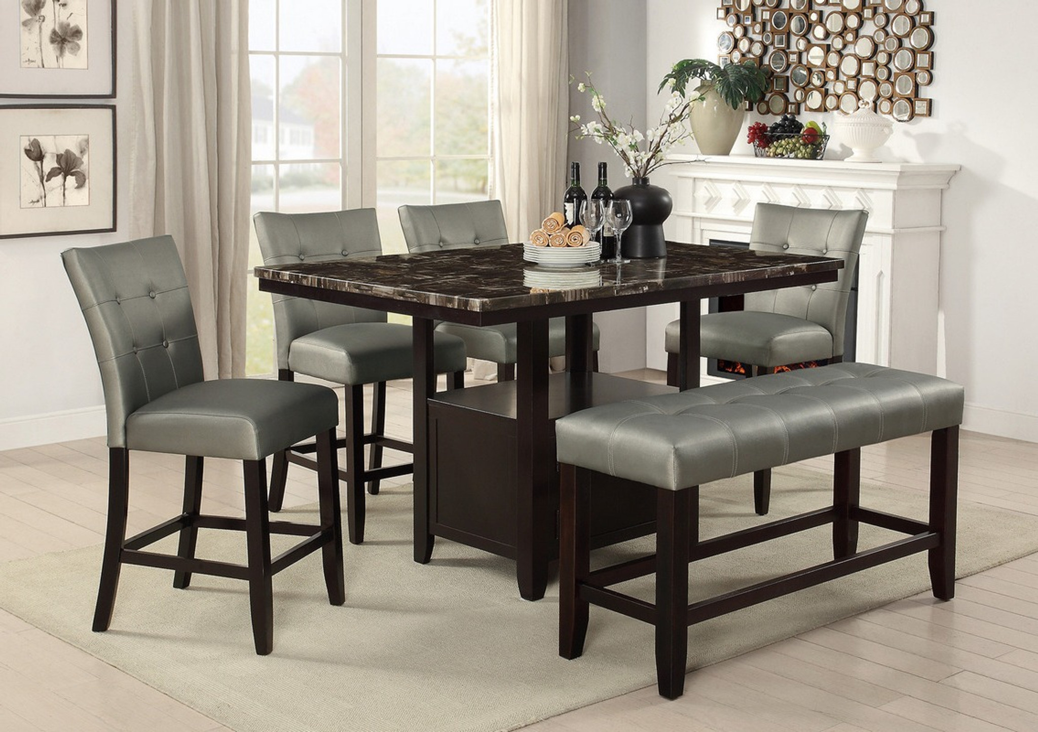 5PCS FAUX MARBLE TOP TABLE DINING SET