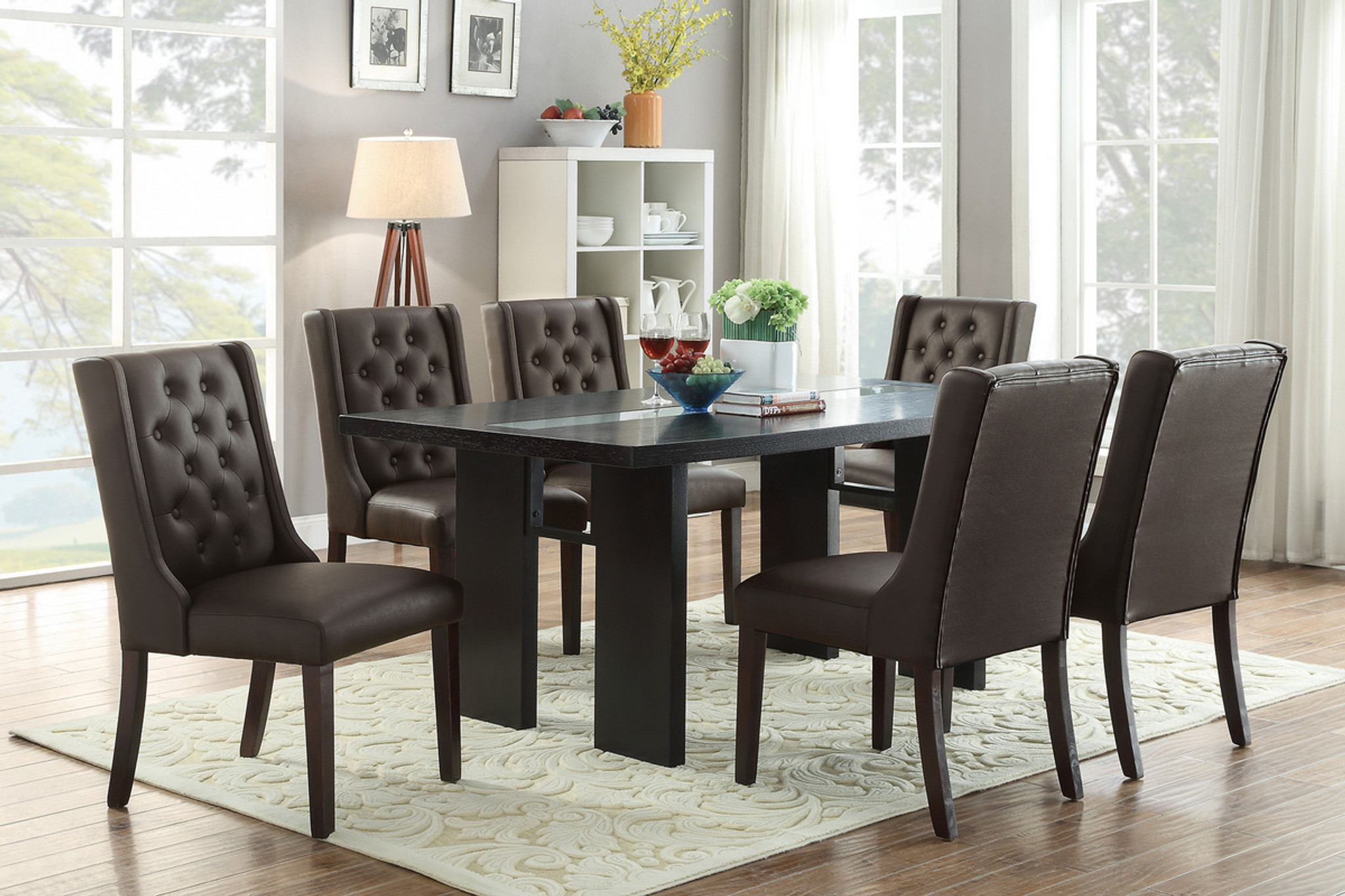 F2367 F1501 7pcs Wooden Top Espresso Dining Table Set By Poundex
