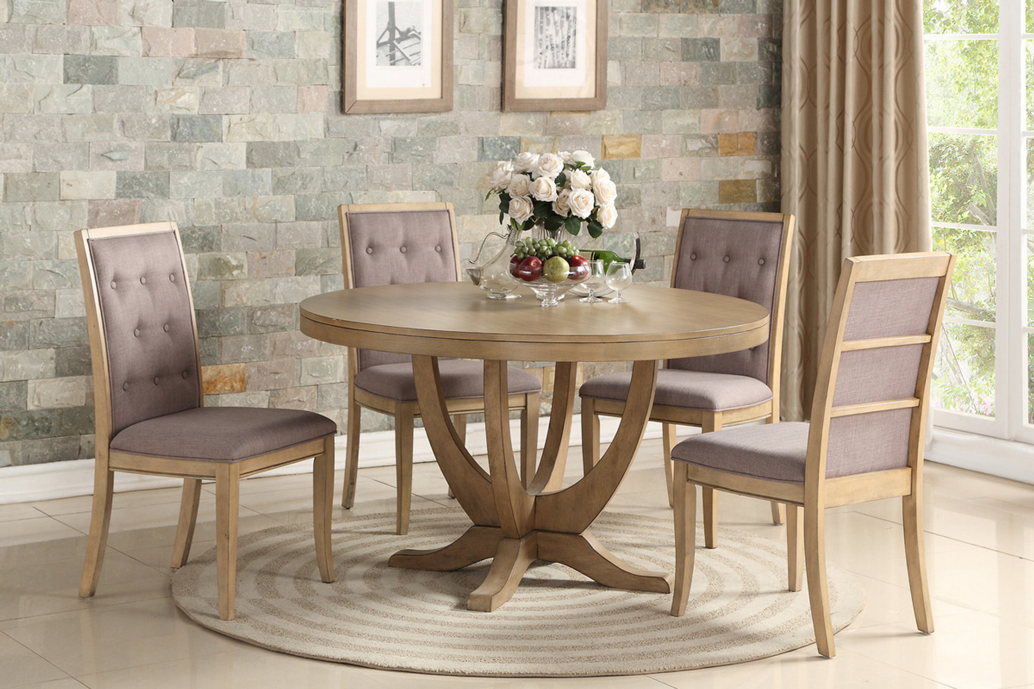 F2448 F1725 5pcs Natural Wood Round Dining Table Set By Poundex