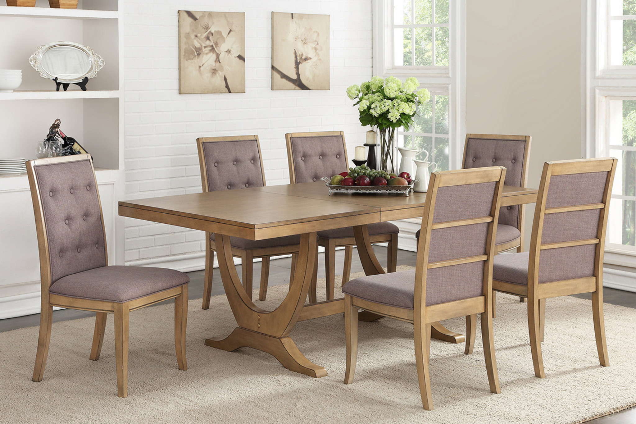 Exceptionnel 7PCS NATURAL WOOD DINING TABLE SET F2449 F1725