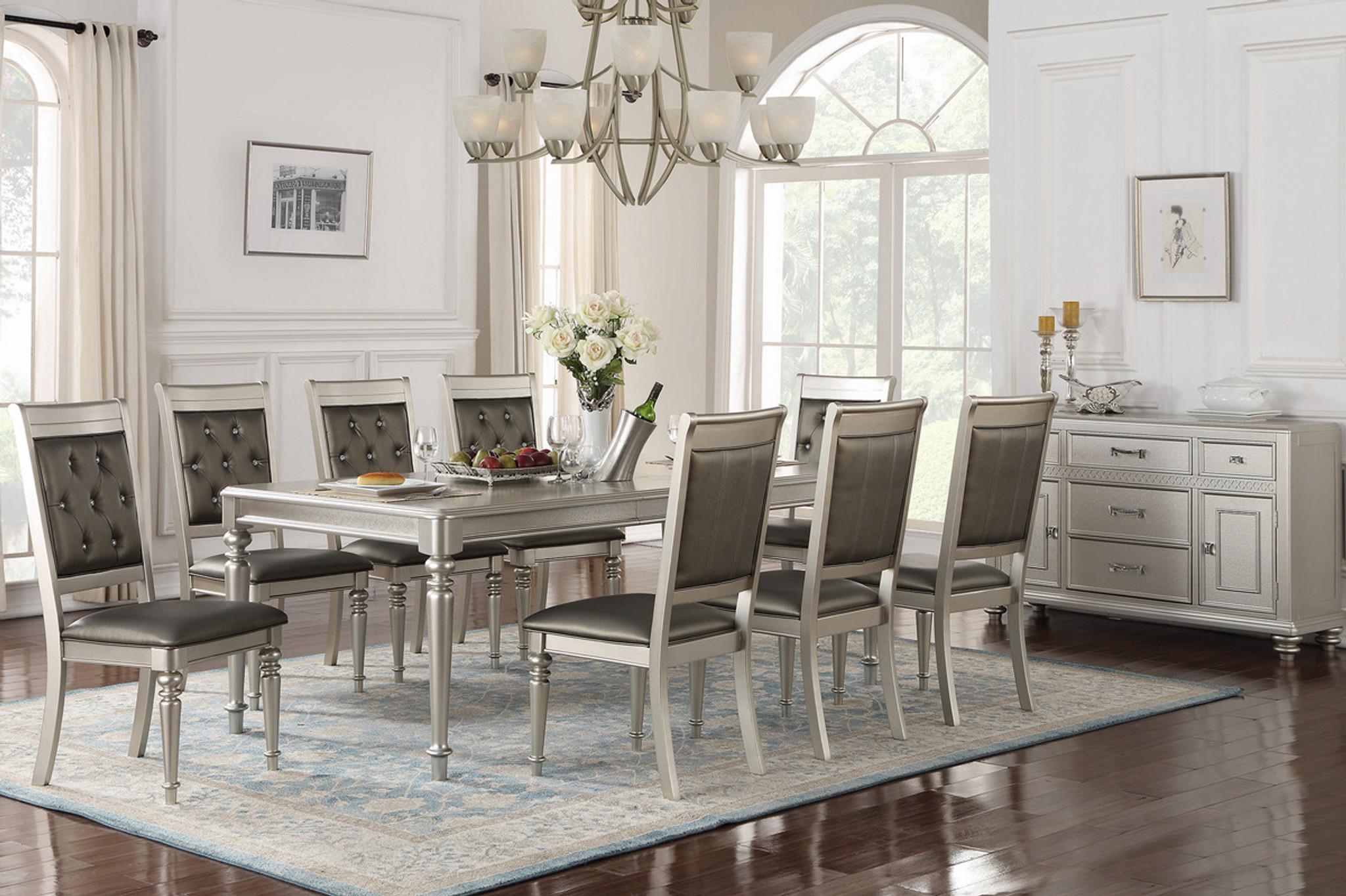8pcs silver rectangular dining table set f2432 f1705