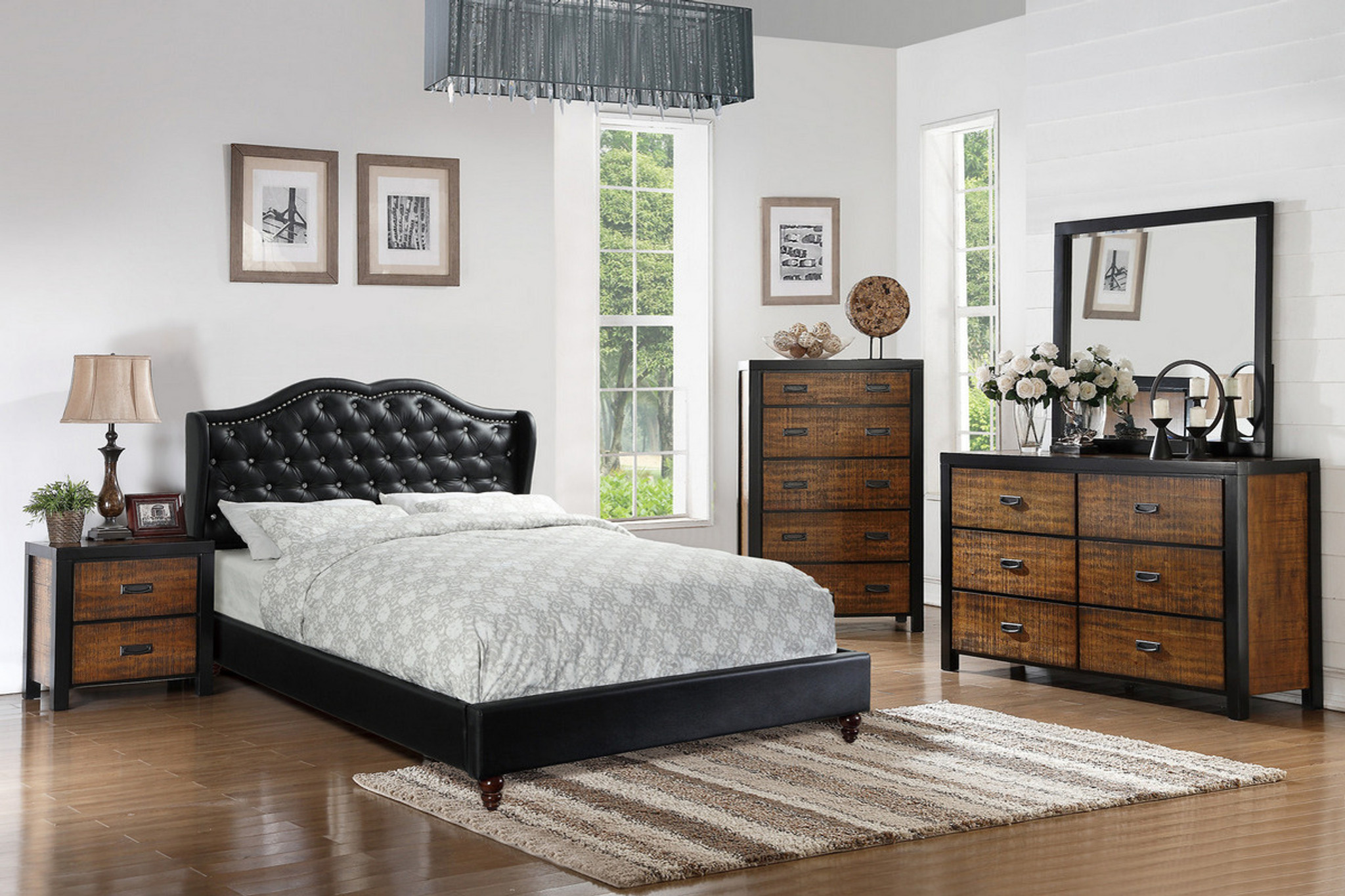 Queen King Bed Black Leather