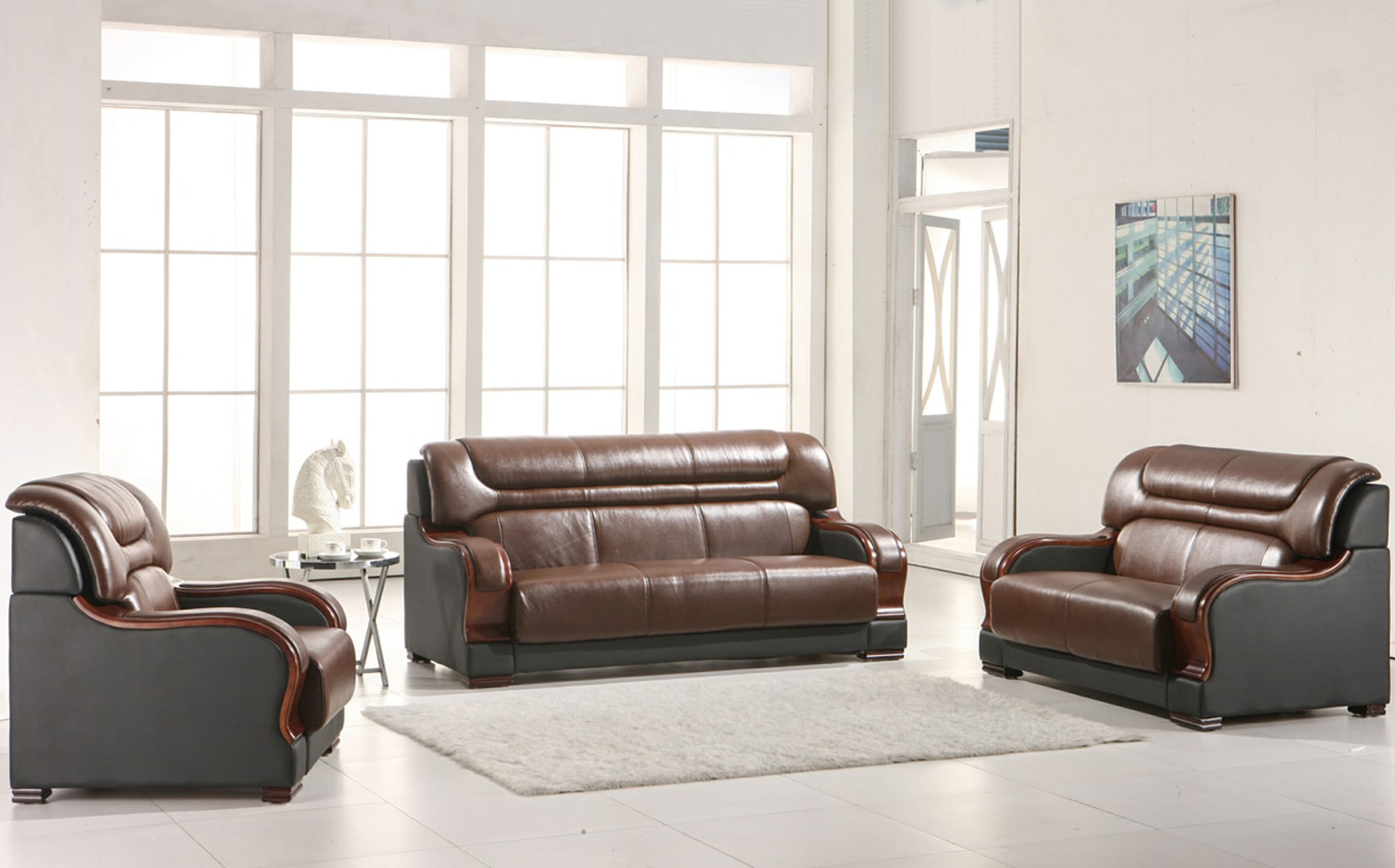 3 Pcs Brown & Black Leather and Wood Sofa Loveseat and single Chair