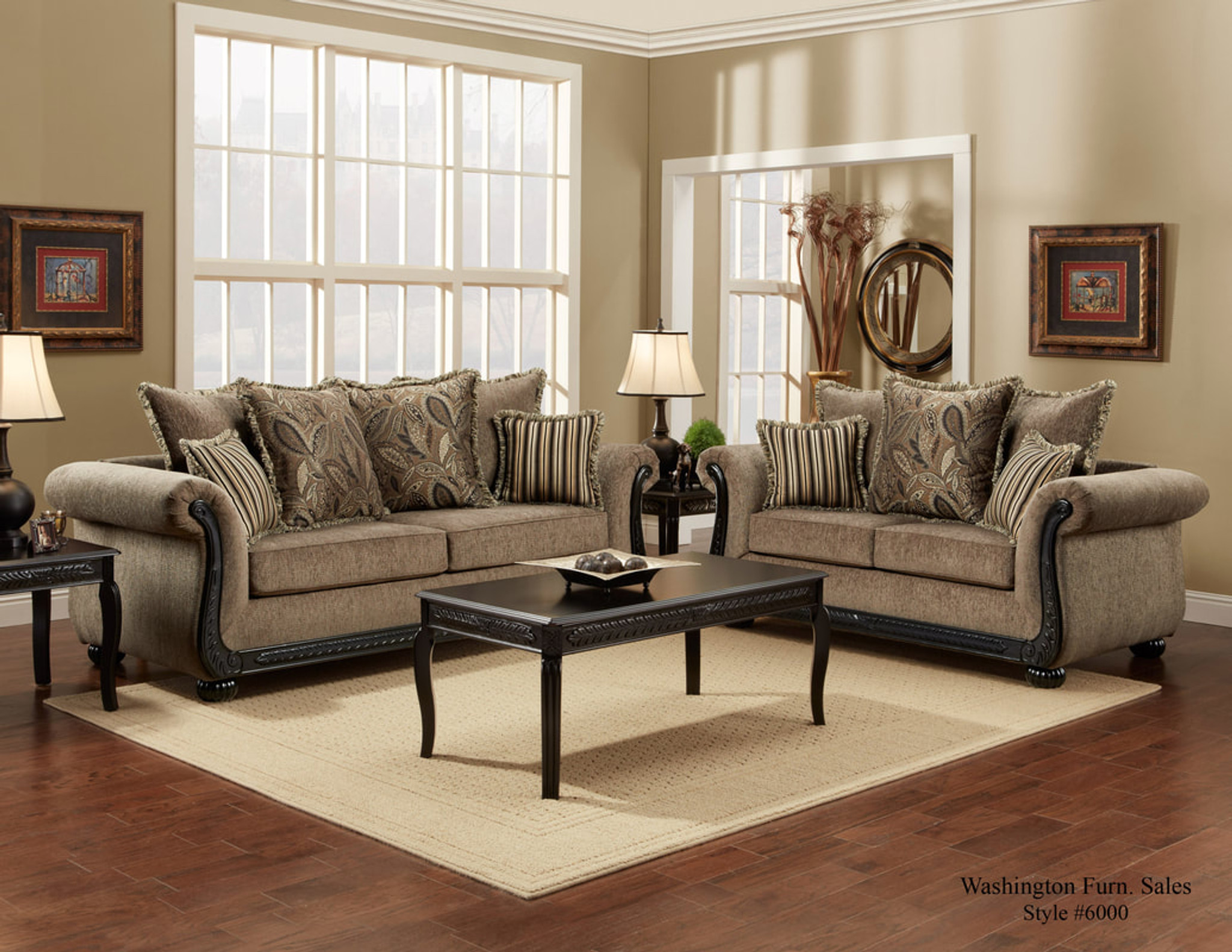WASHINGTON TRADITIONAL SOFA & LOVESEAT IN DREAM JAVA