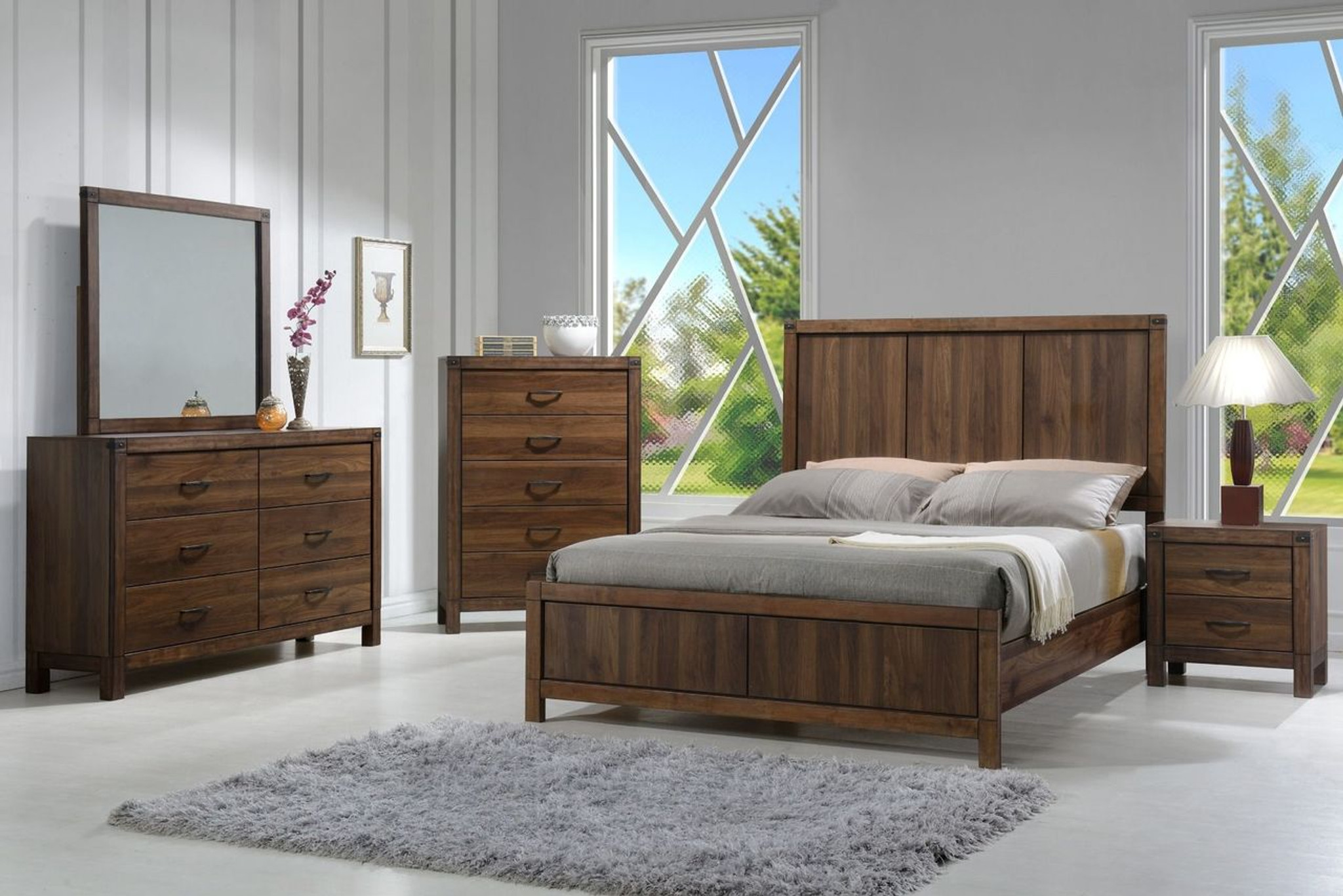 6 PCS BELMONT BEDROOM SET- WOOD HB