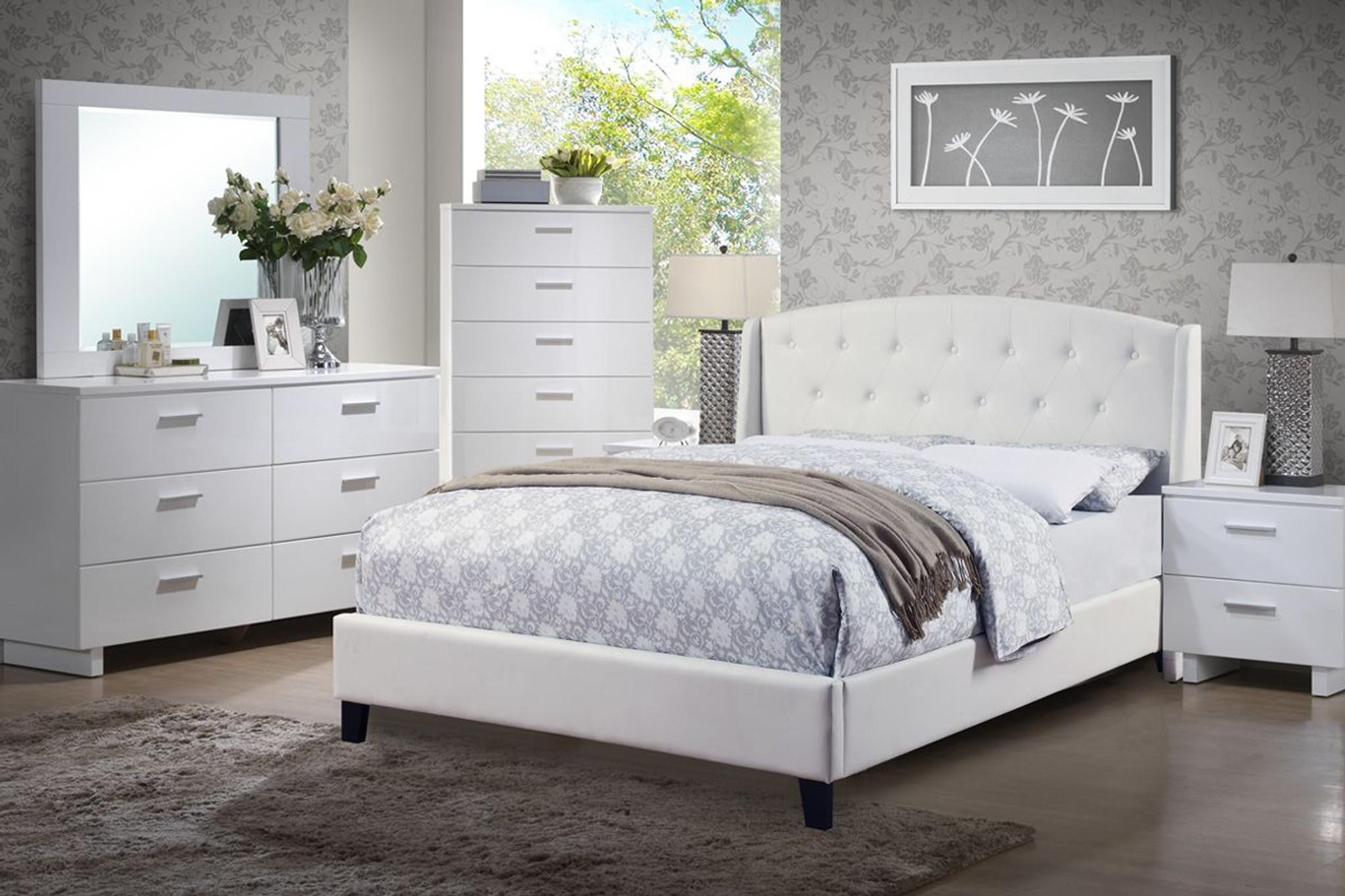 6 PC EDEN WHITE PLATFORM BED SET