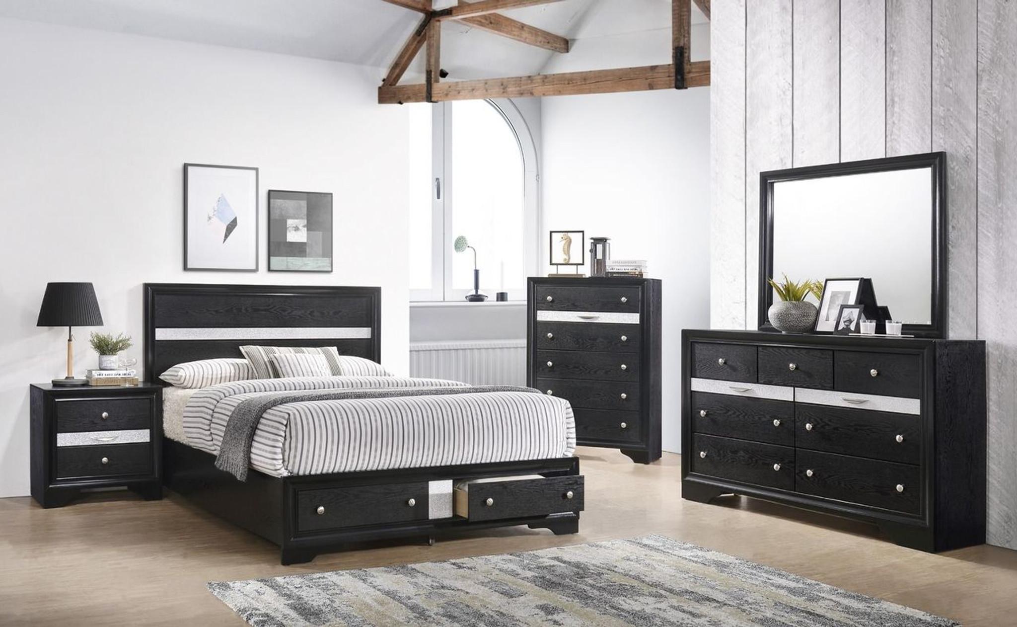B4670-6 PCS 6 Regata Black Platform Bedroom SET By Crown Mark