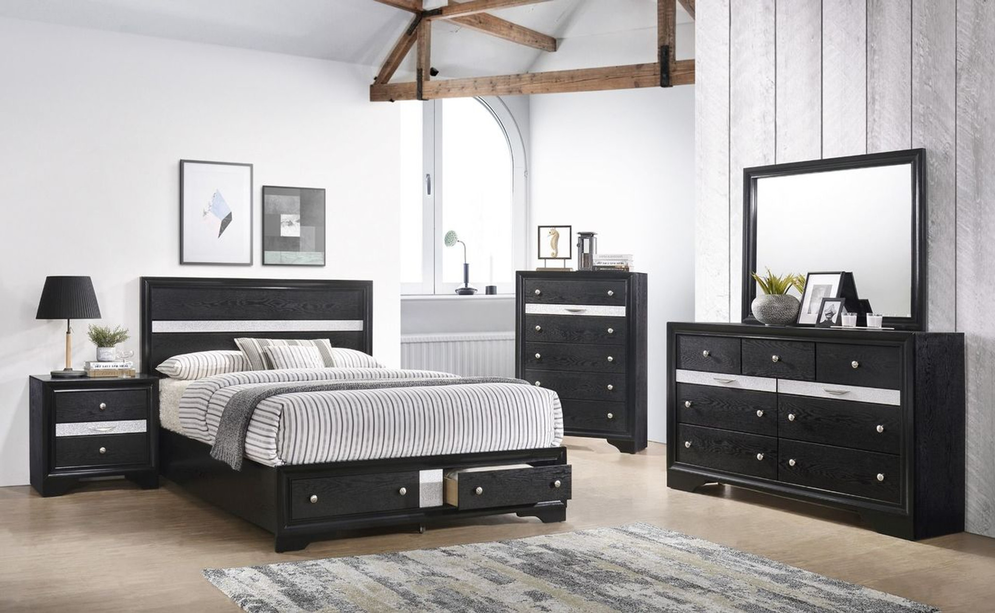 B4670 6 Pcs 6 Regata Black Platform Bedroom Set By Crown Mark