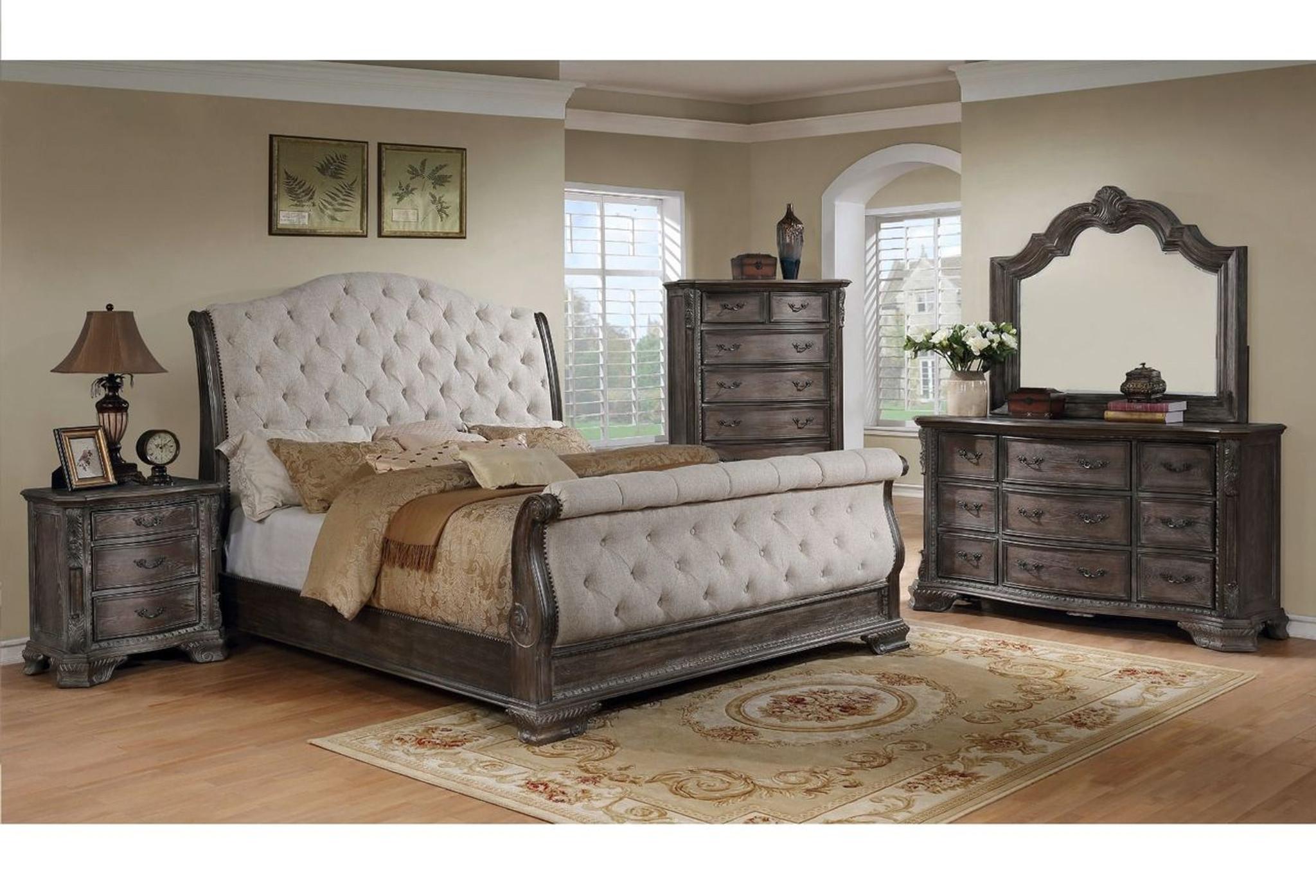 - B1120-88-6 PCS Sheffield Grey Sleigh Bed SET By Crown Mark