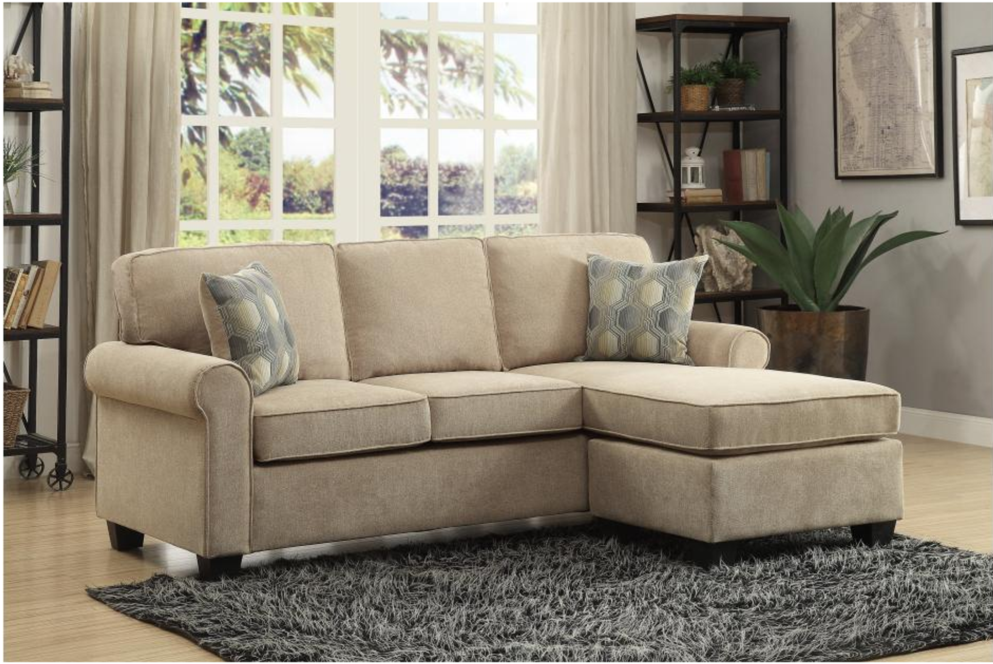 REVERSIBLE SOFA CHAISE CLUMBER COLLECTION SAND COLOR