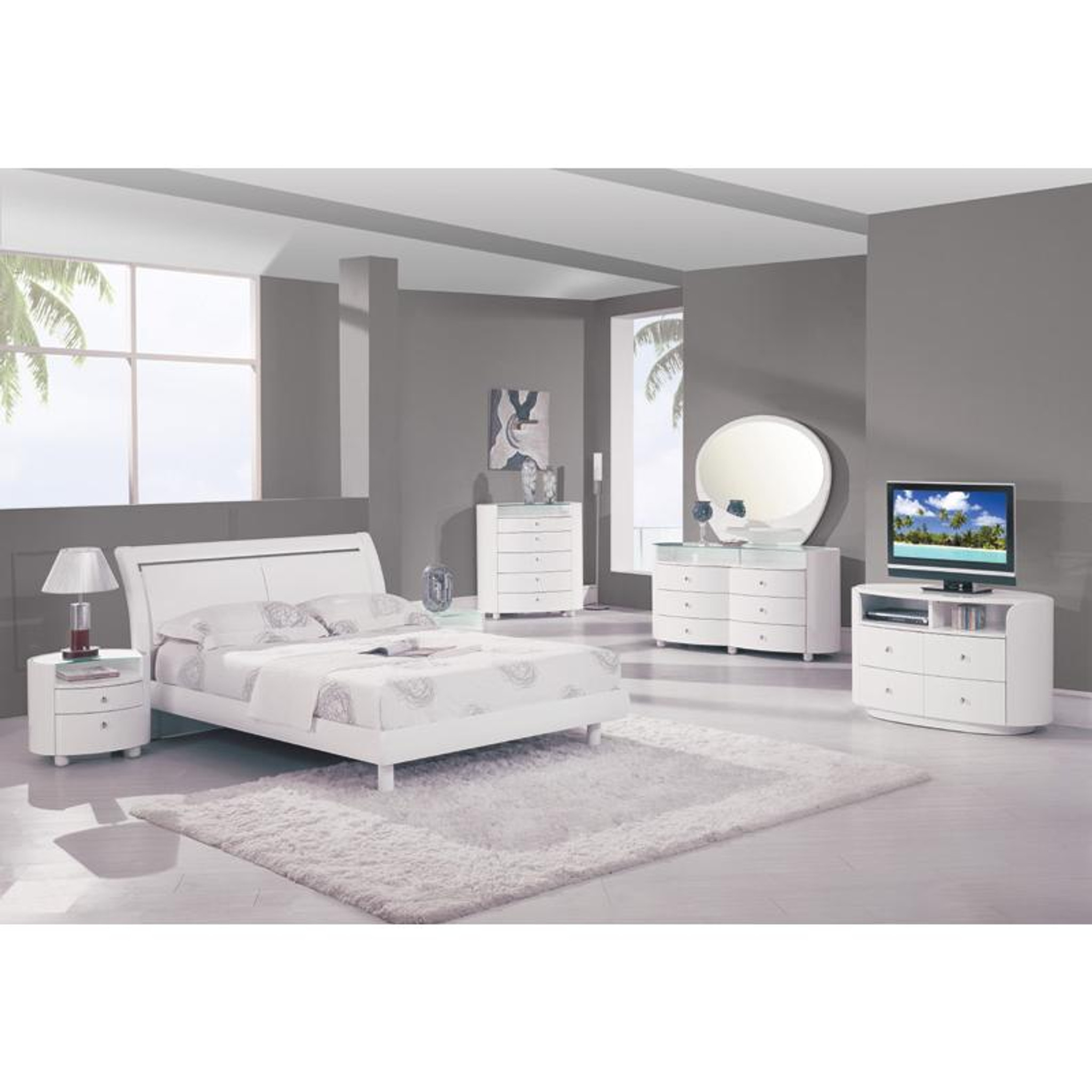 6pcs White Modern Cosmo Glossy Collection Bedroom Set Km Home Furniture