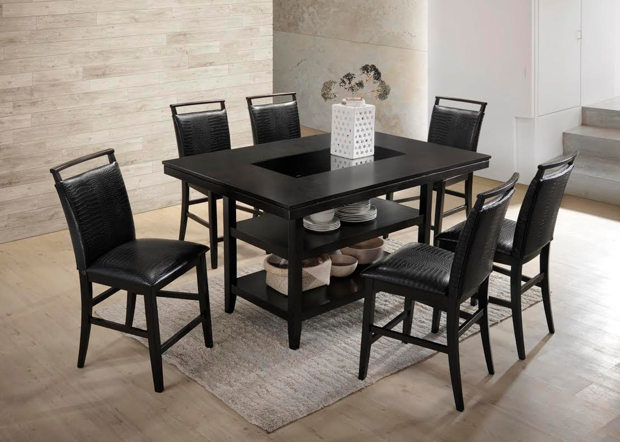 7PCS BLACK COUNTER HEIGHT DINING TABLE SET- BLACK CROCODILE UPHOLSTERY