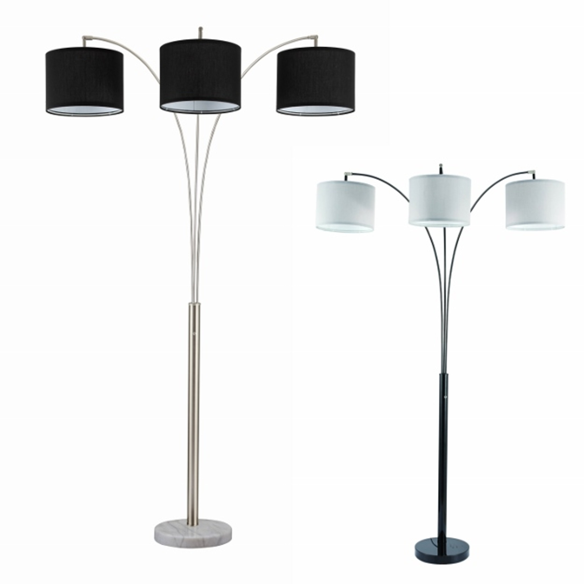 Picture of: 6249f Bk Black Floor Lamp W White Shade Collection By Crown Mark