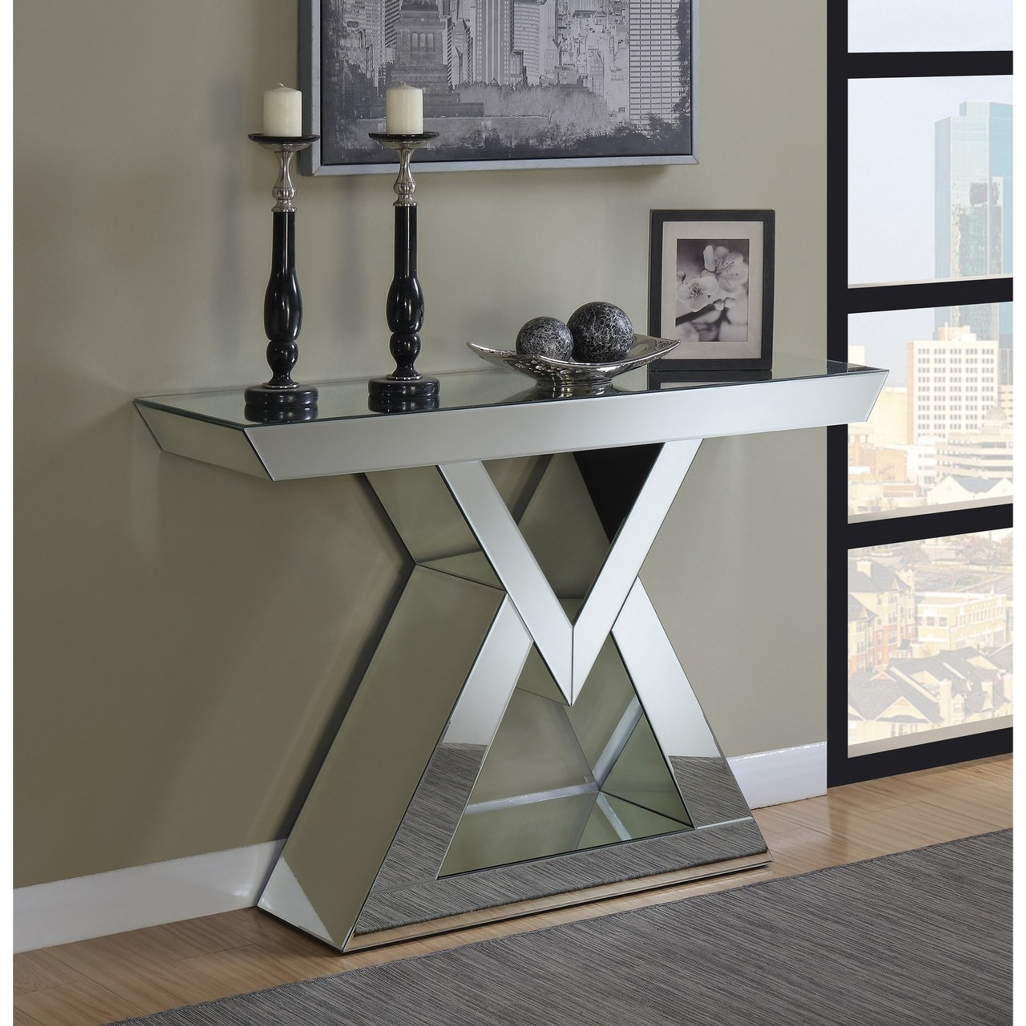 - Accent Tables Contemporary Console Table With Triangle Base