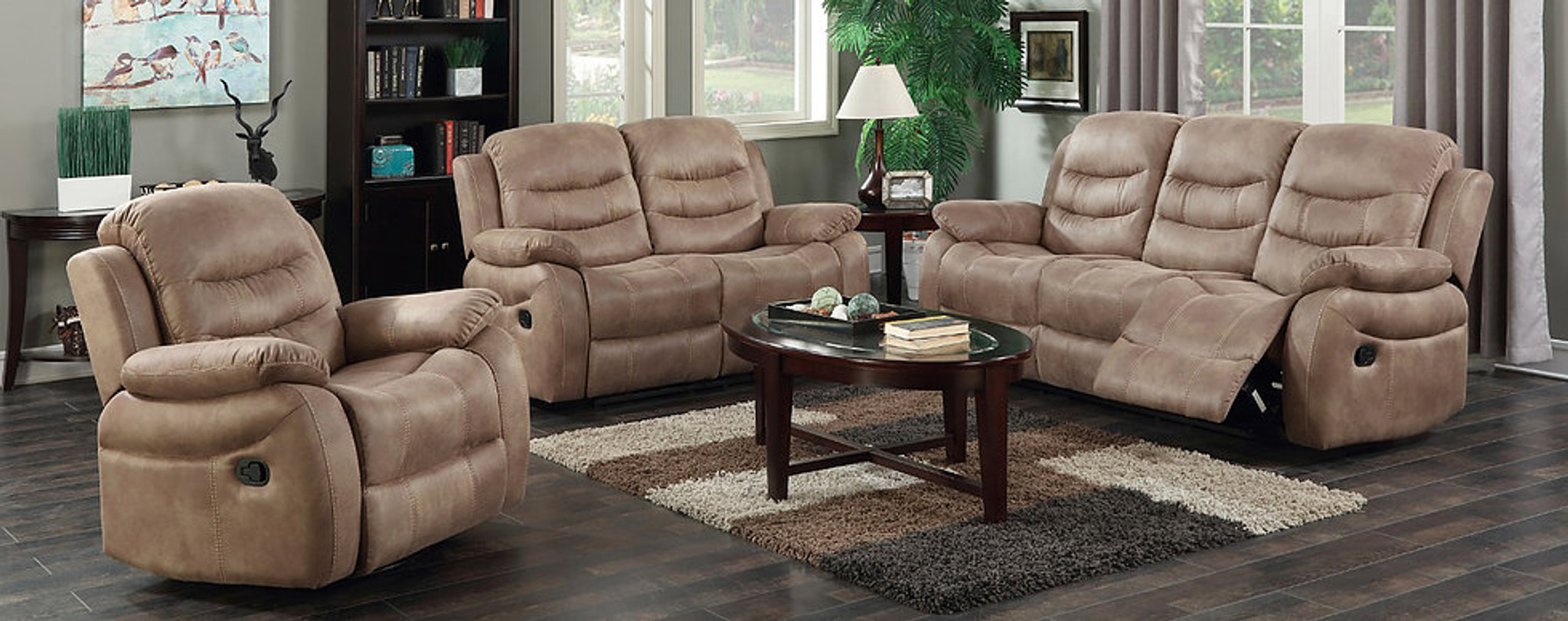 2PCS YURI BEIGE RECLINING SOFA AND LOVESEAT SET S8265