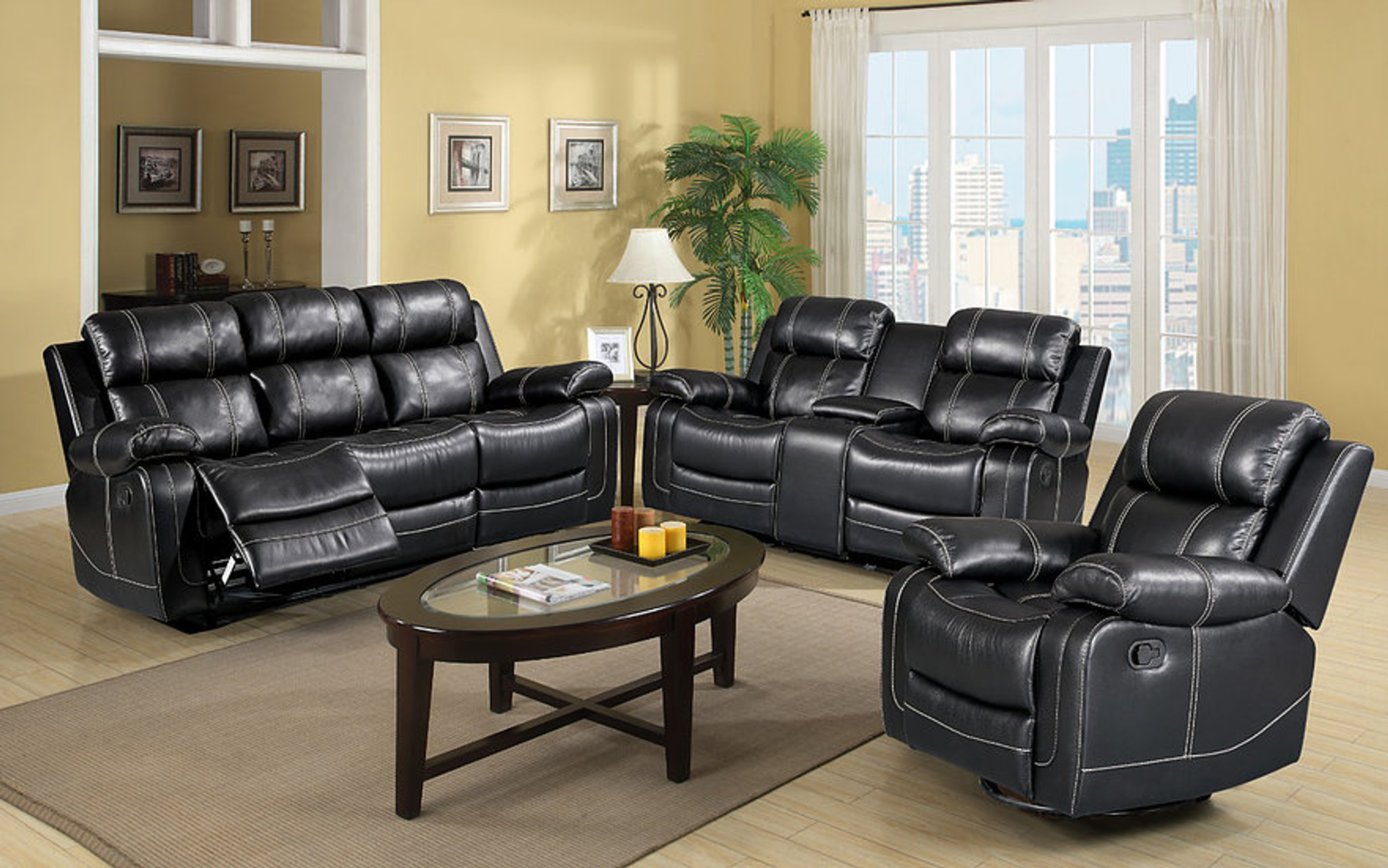 Picture of: S3008 2pcs Grace Black Reclining Sofa And Loveseat Set Collection By New Era