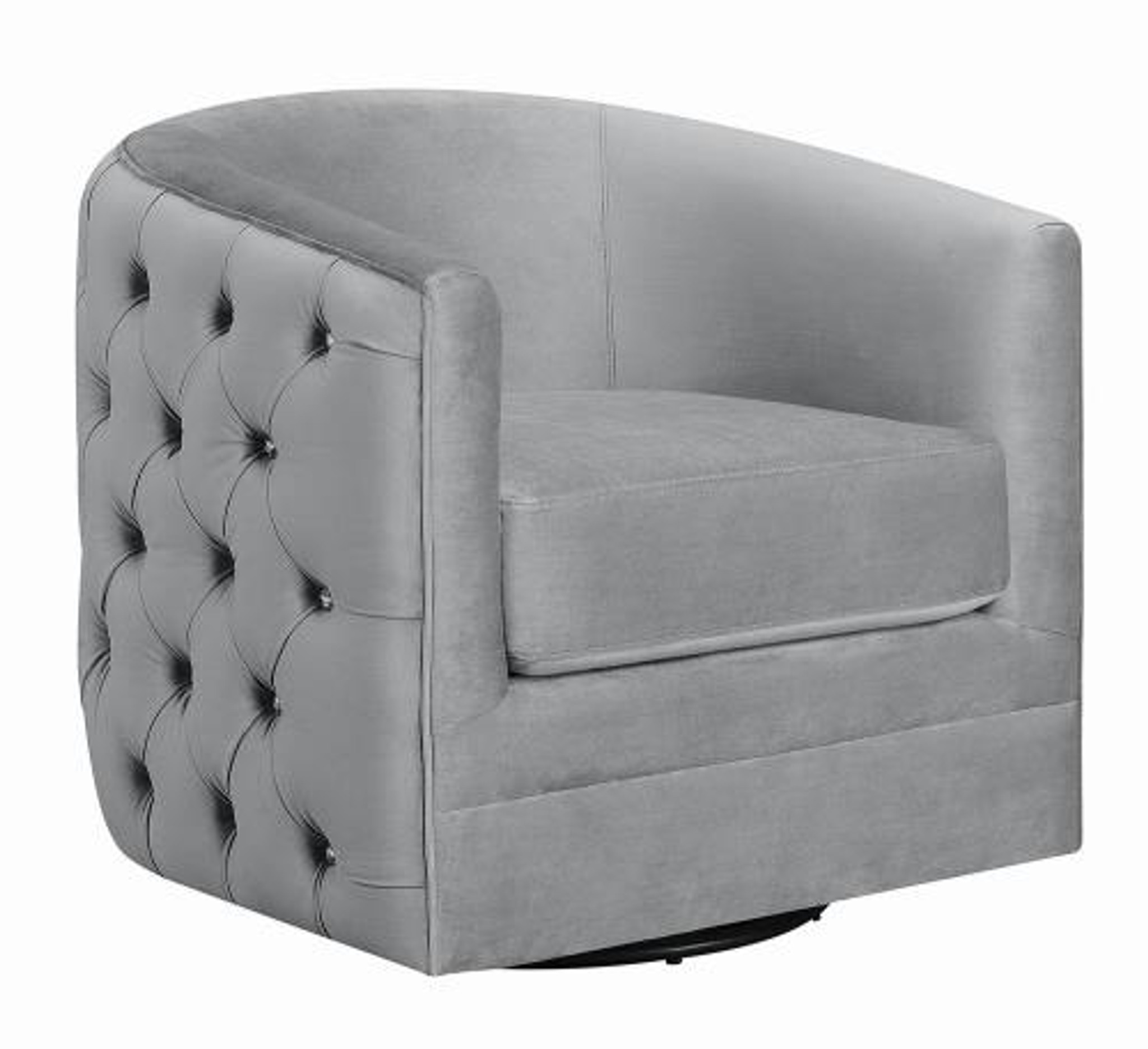 Admirable Velvet Gray Accent Chair With Rhinestone Buttons Caraccident5 Cool Chair Designs And Ideas Caraccident5Info