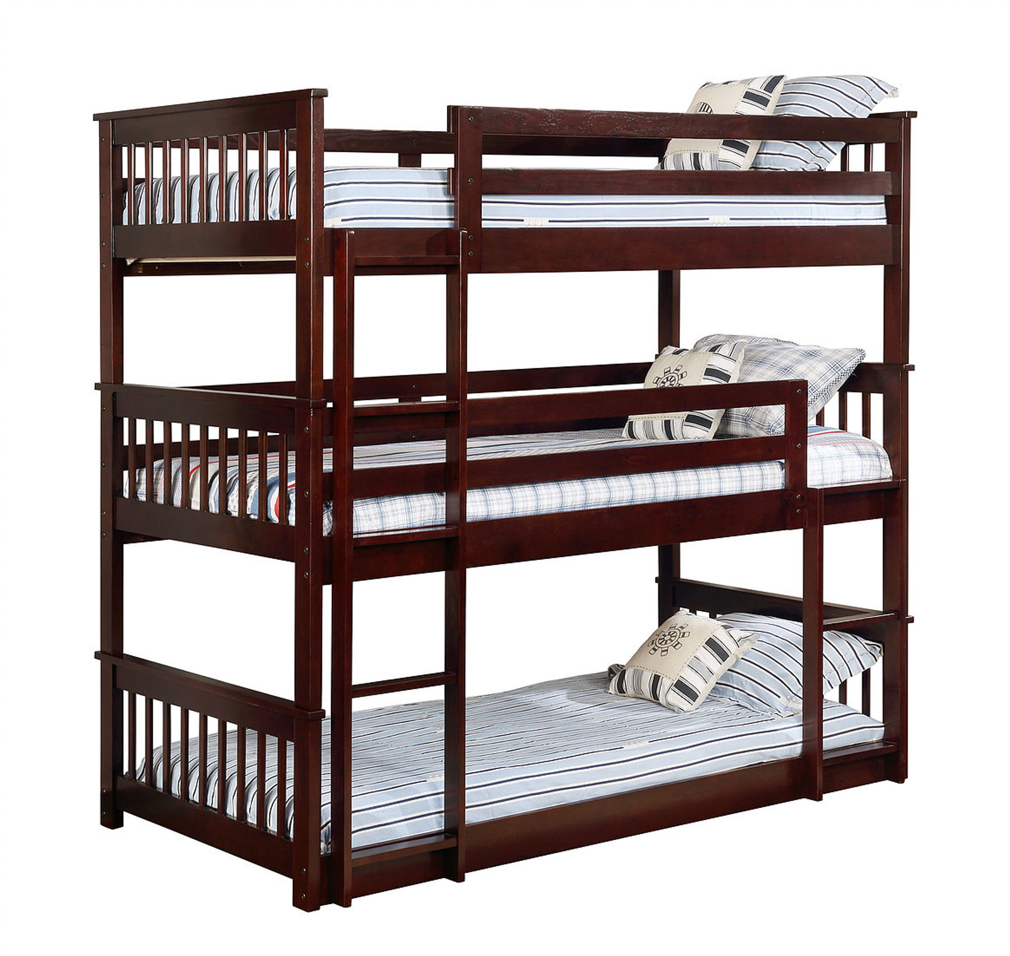 Picture of: Triple Twin Size Bunk Bed In Cappuccino Color Km Home Furniture