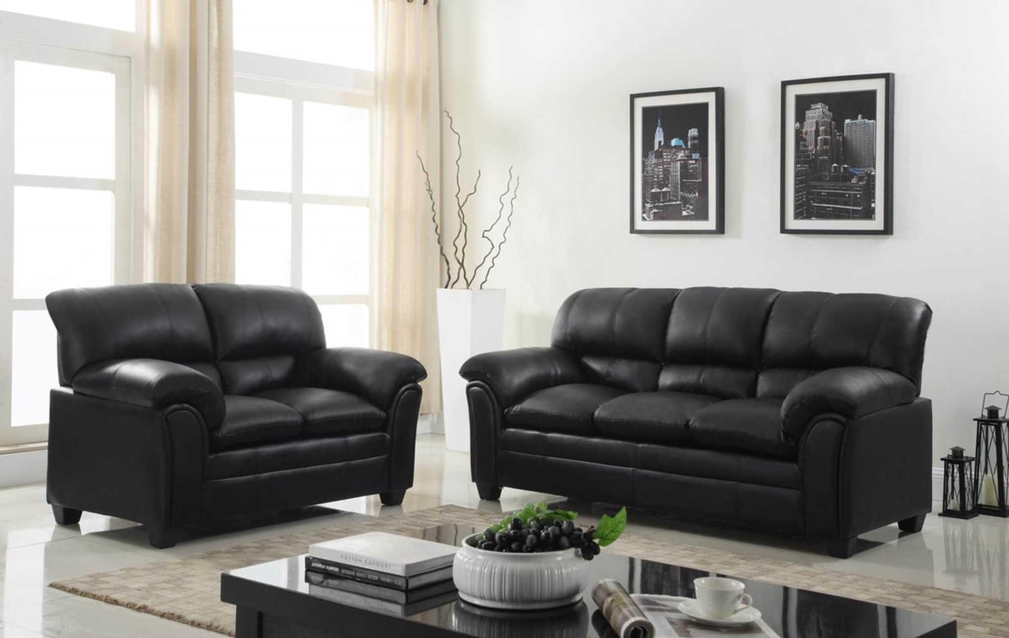 Picture of: Parker Black 2pcs Parker Black Sofa And Loveseat Set Collection By Happy Homes