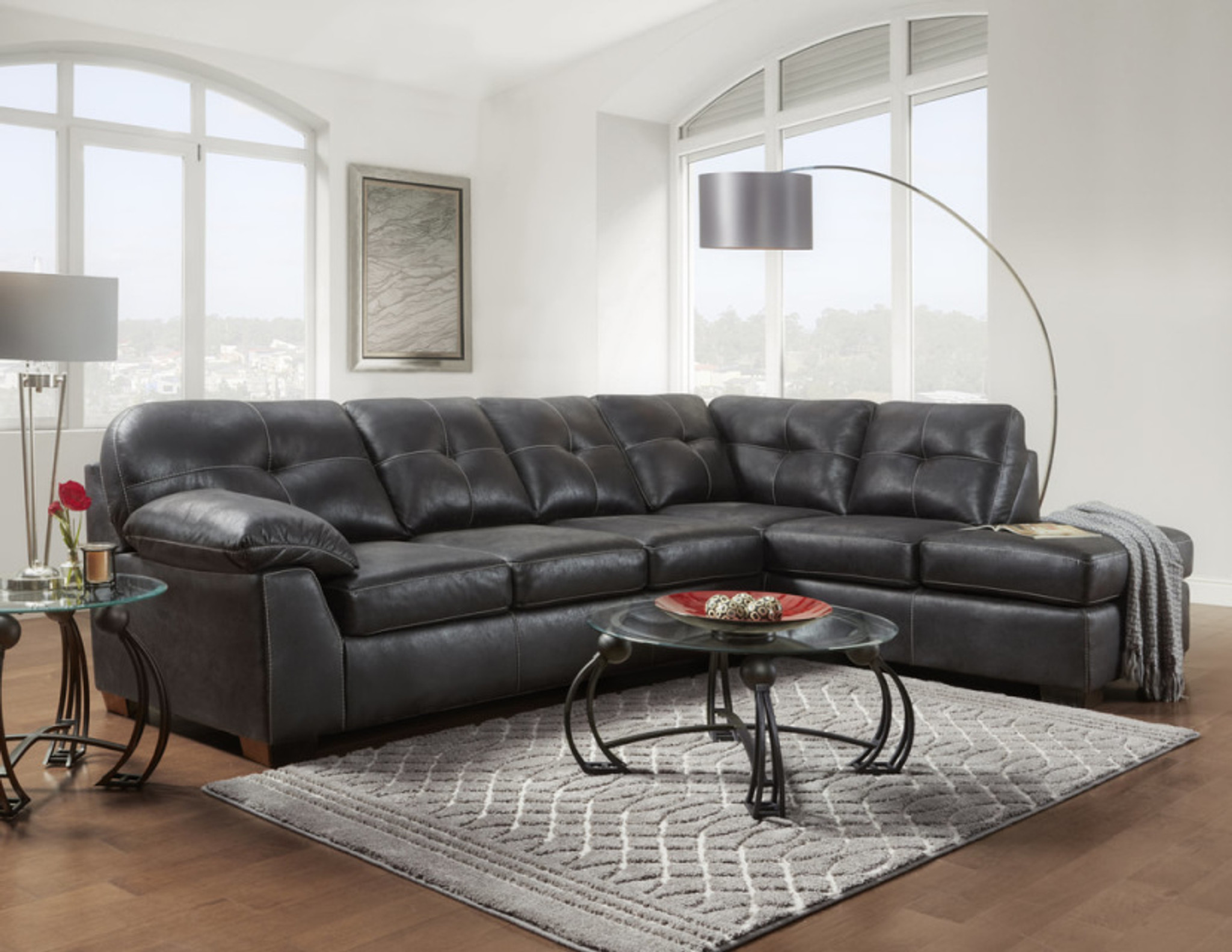 Strange 2Pcs Nevada Black Sectional Set Caraccident5 Cool Chair Designs And Ideas Caraccident5Info