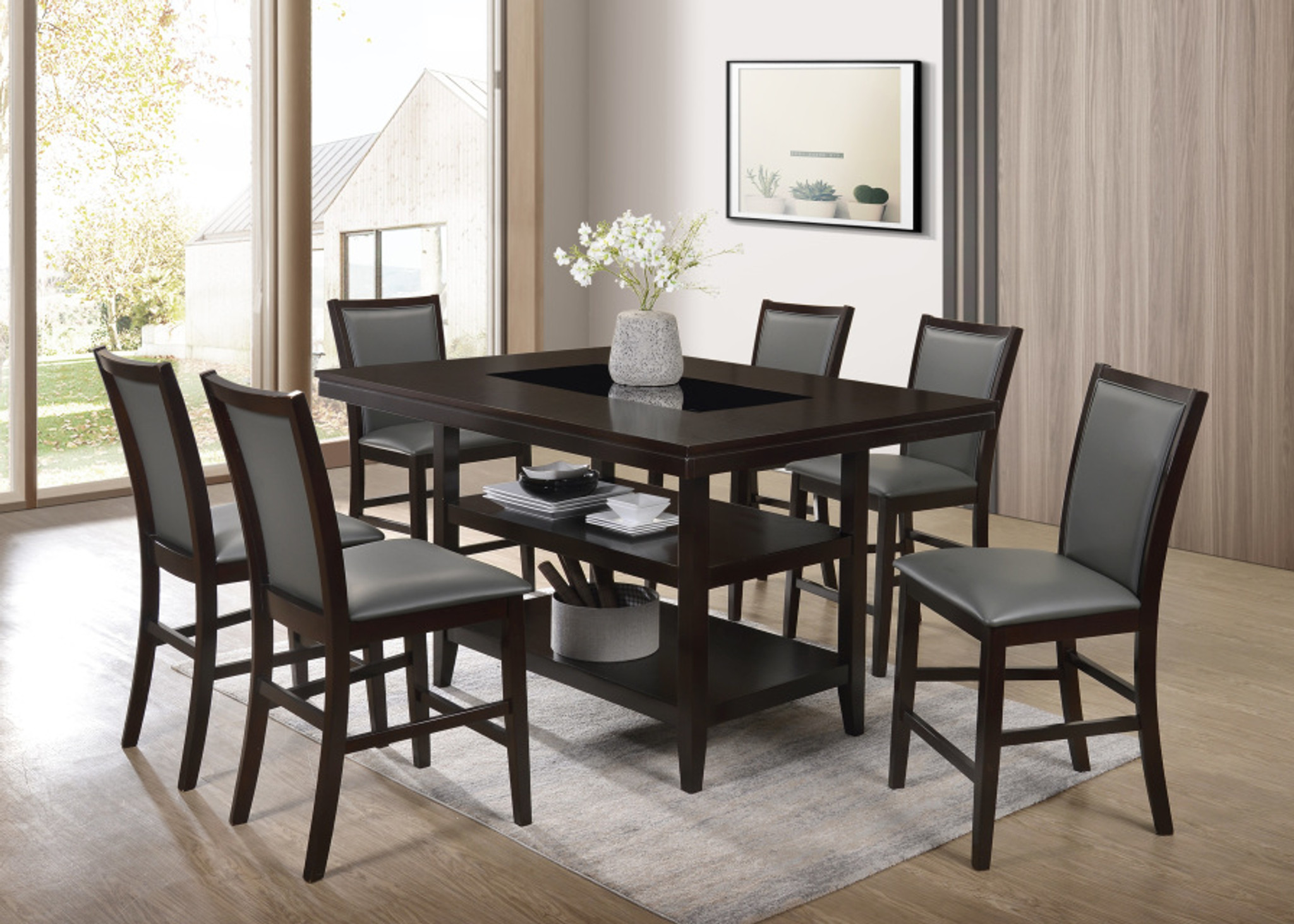 Picture of: Condor Condor Counter Height Dining Table 7 Pcs Set Collection By Happy Homes