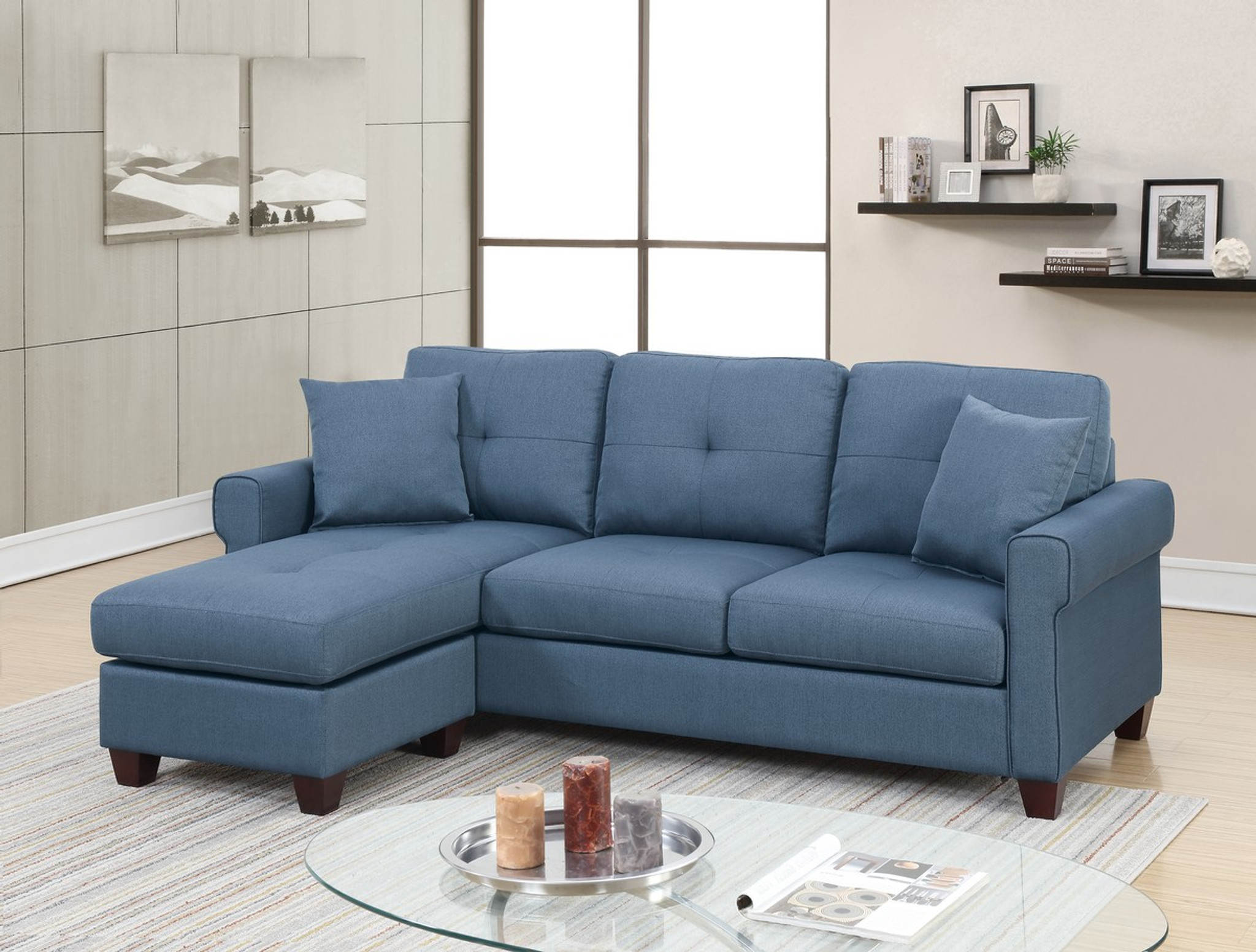 Fine 2Pc Luca Reversible Sectional Set In Blue Unemploymentrelief Wooden Chair Designs For Living Room Unemploymentrelieforg