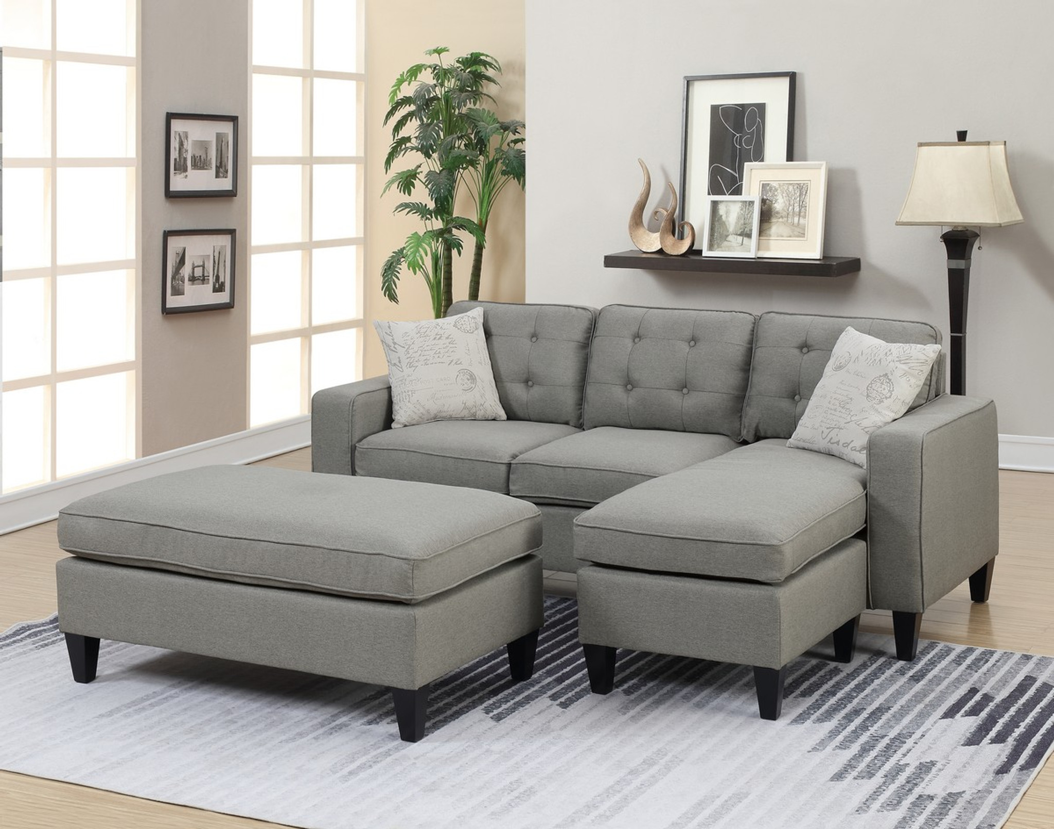 Marvelous 3Pc Marco Sectional Set With Ottoman In Light Grey Alphanode Cool Chair Designs And Ideas Alphanodeonline