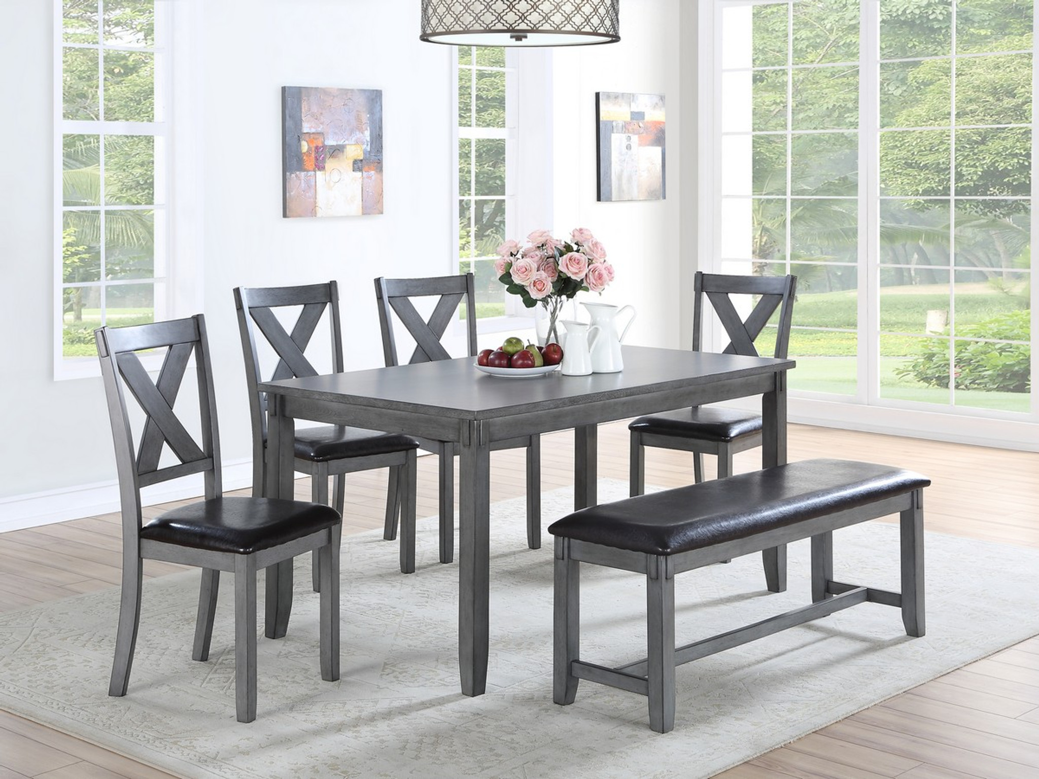 6PCS NAPOLEON DINING TABLE SET IN GREY