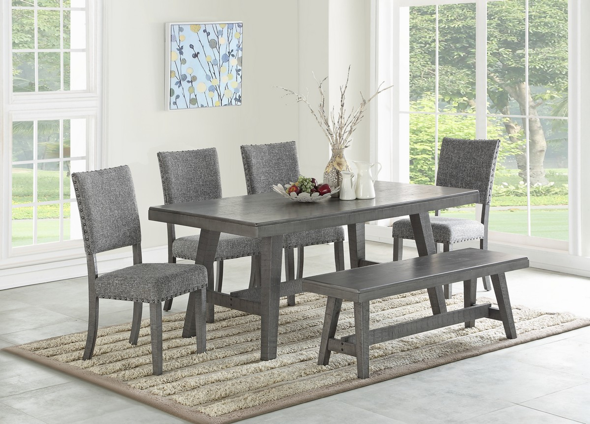 5PCS AMEDEO DINING TABLE SET IN GREY