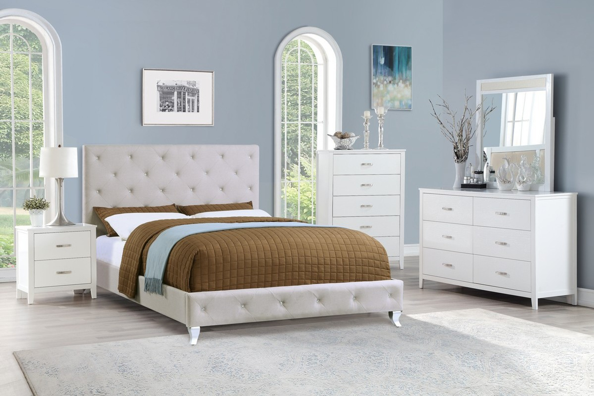 F9419 Nero Full Queen Size Bed In Light Grey By Poundex