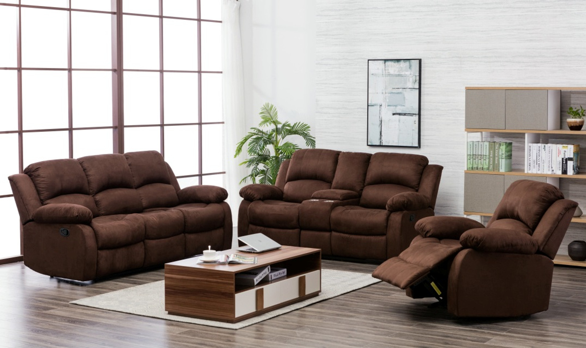 Excellent 2Pcs Microfiber Brown Sofa And Loveseat Set Ncnpc Chair Design For Home Ncnpcorg