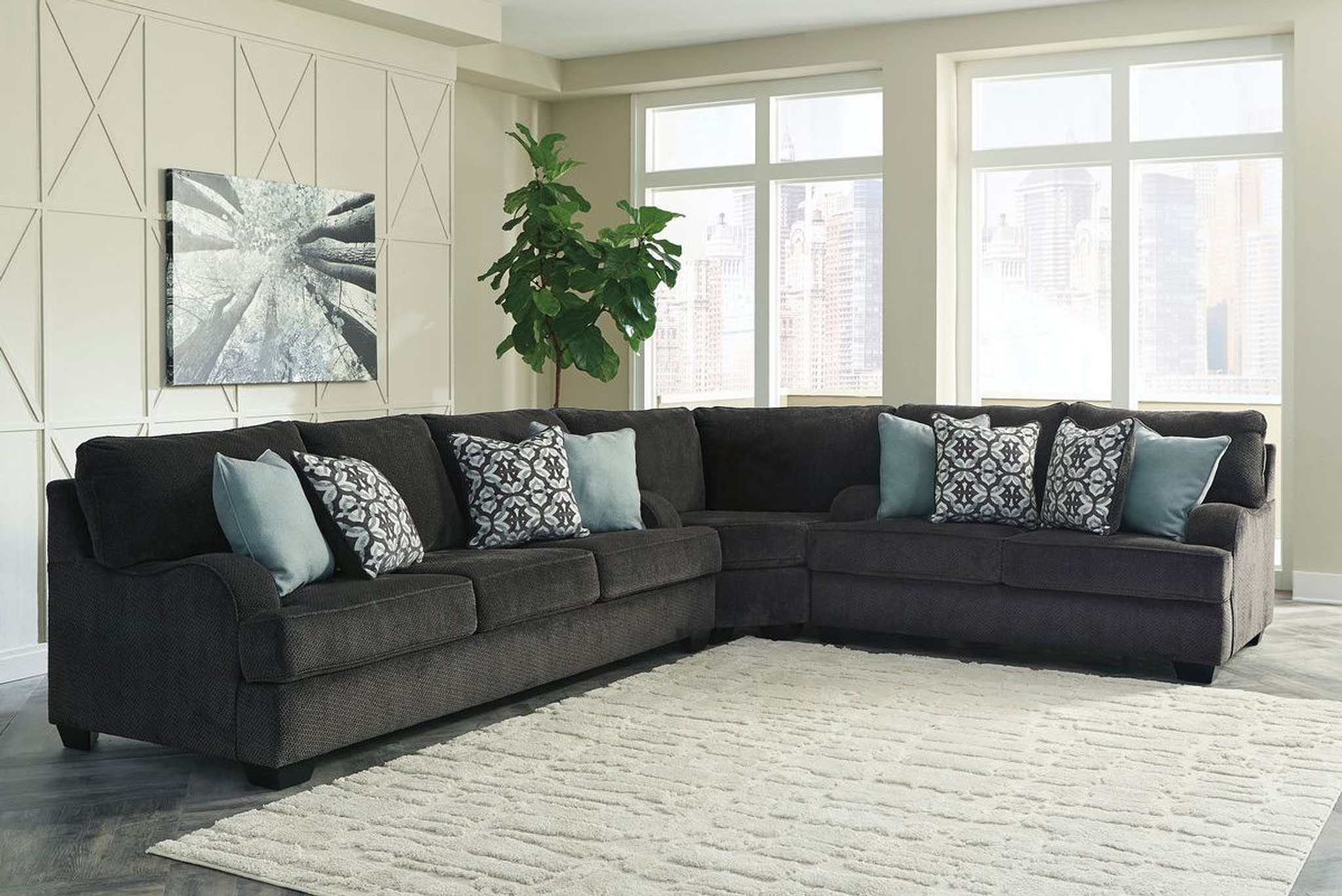 - 14101-39-77-35 3 PC CHARENTON CHARCOAL QUEEN SLEEPER SECTIONAL