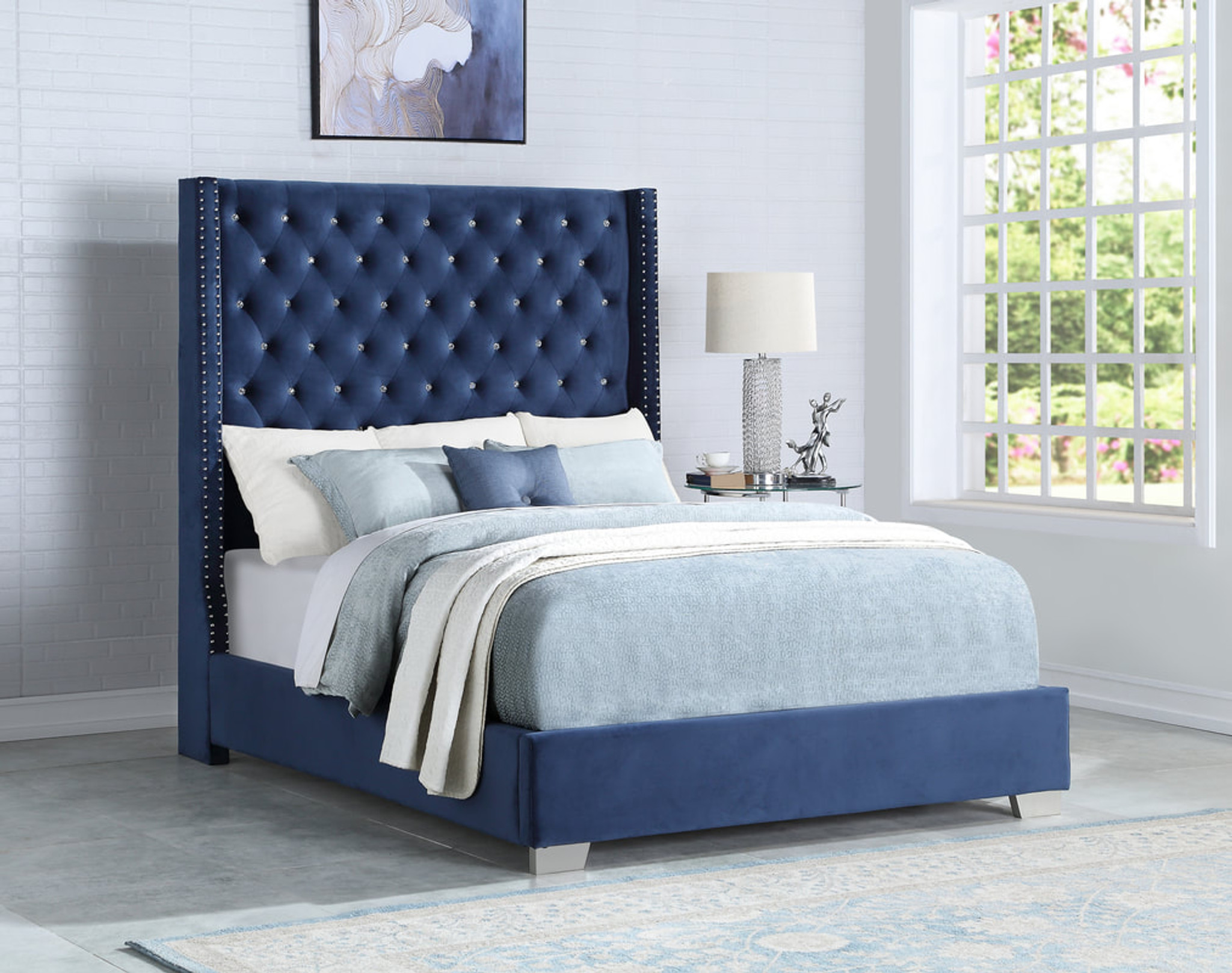 Arya 6 Ft Blue Velvet Upholstery Bed With Diamond Km Home Furniture
