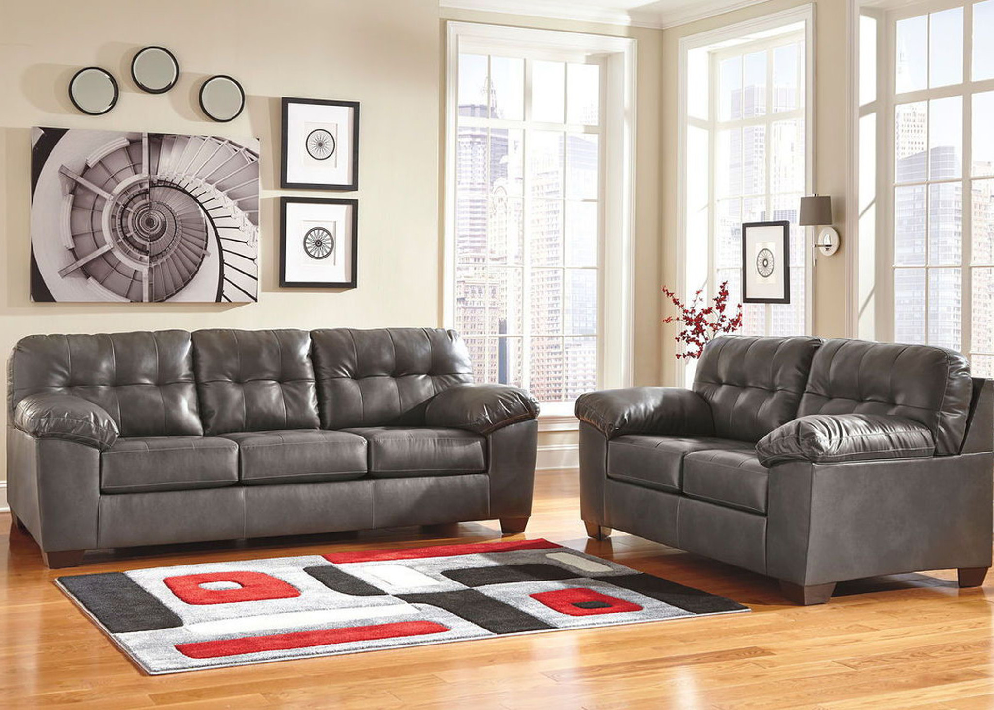 Pleasant 2 Pcs Alliston Durablend Gray Sofa Loveseat Gmtry Best Dining Table And Chair Ideas Images Gmtryco