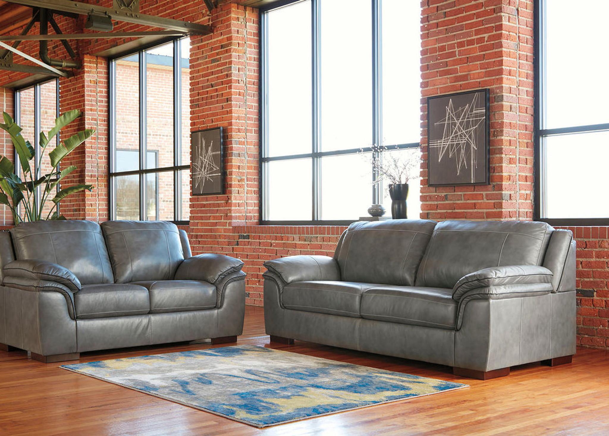 Fabulous 2 Pcs Islebrook Iron Leather Sofa Loveseat Spiritservingveterans Wood Chair Design Ideas Spiritservingveteransorg