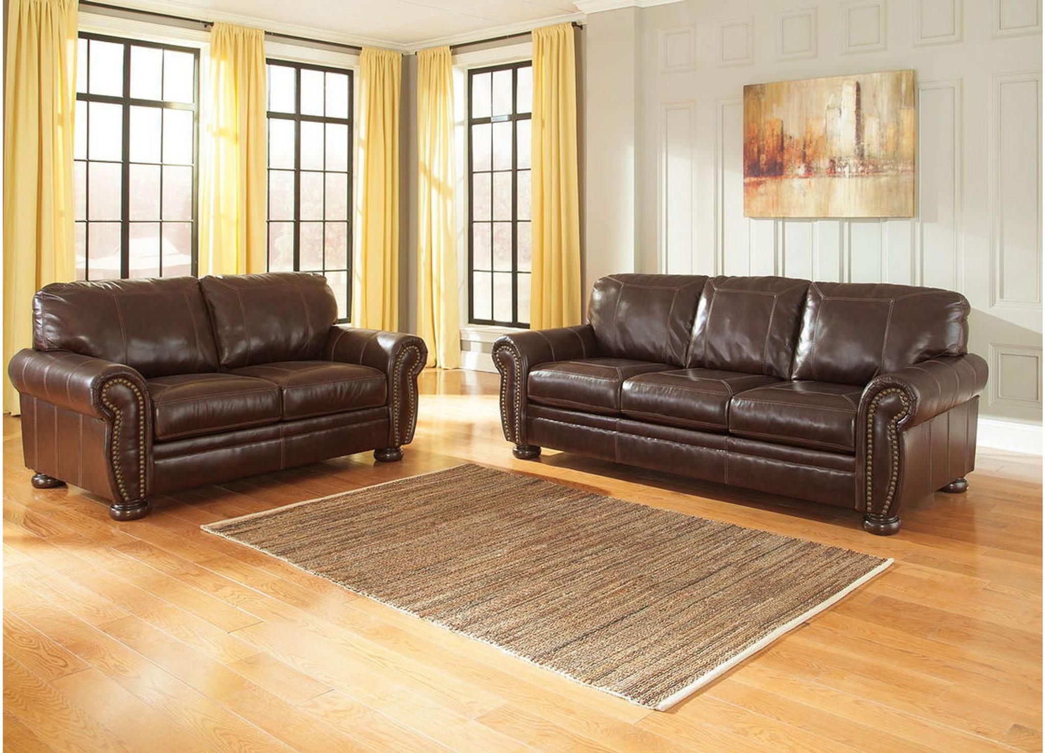 Brilliant 2 Pcs Banner Coffee Leather Sofa Loveseat Inzonedesignstudio Interior Chair Design Inzonedesignstudiocom